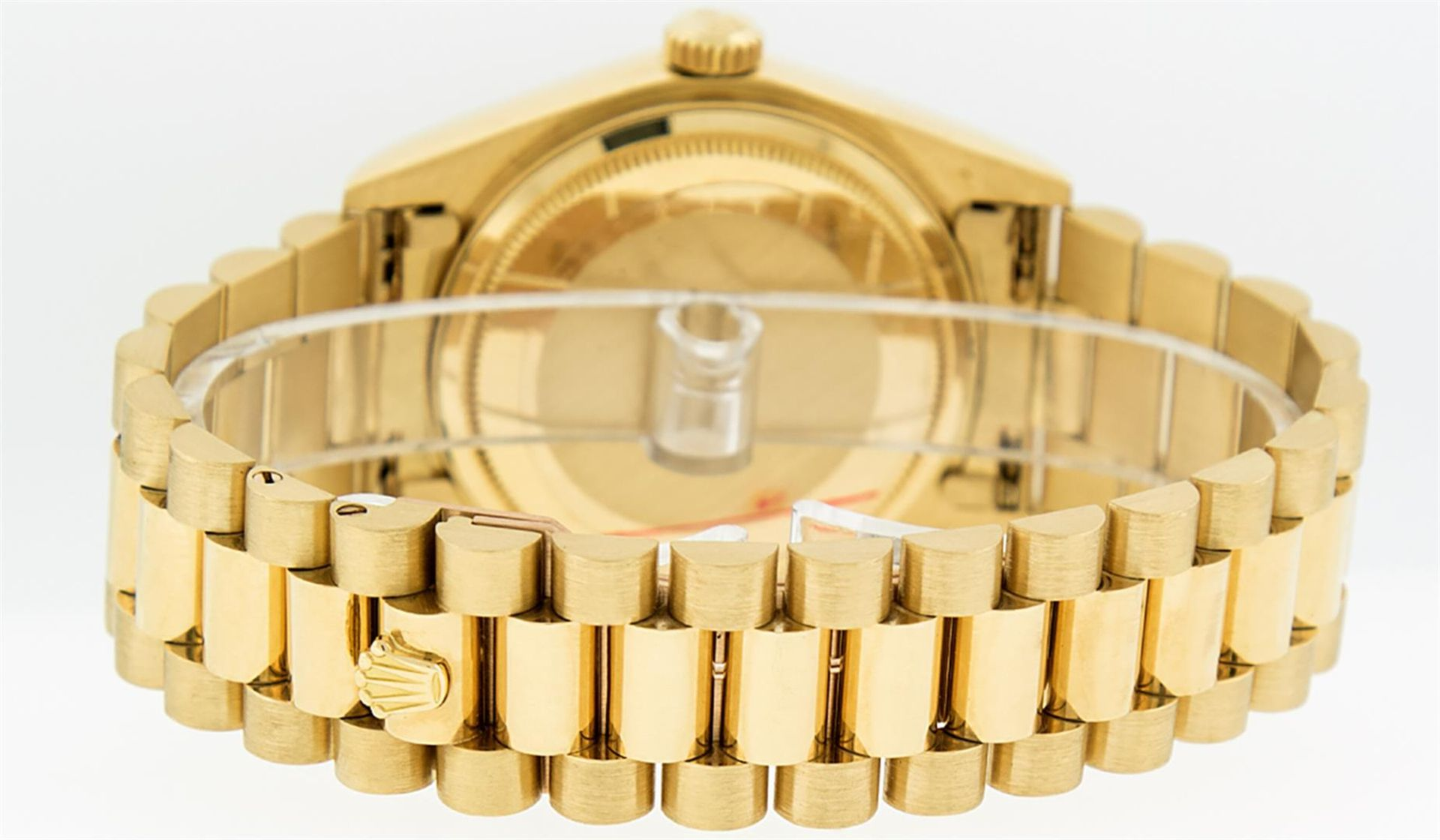 Rolex Mens 18K Yellow Gold Blue Vignette Diamond Quickset President Wristwatch W - Image 6 of 9