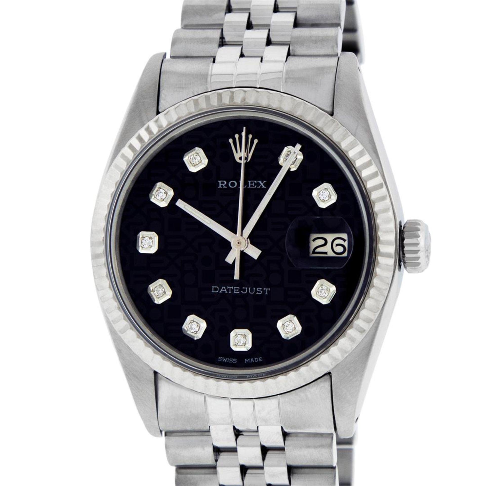 Rolex Mens Stainless Black Diamond 36MM Datejust Wristwatch - Image 3 of 9