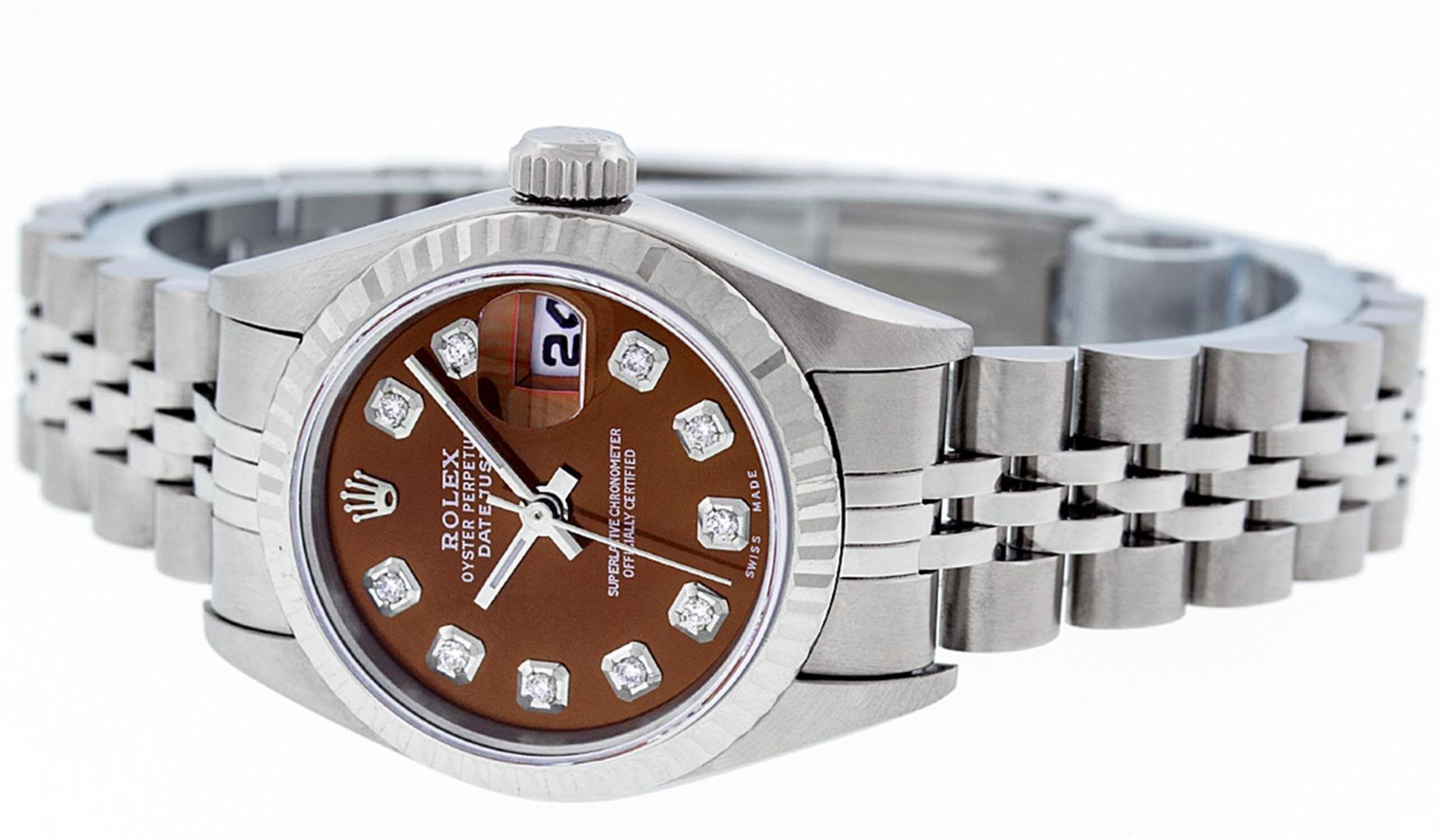 Rolex Ladies Stainless Steel Mother Of Pearl Diamond Quickset Datejust Wristwatc - Image 6 of 9