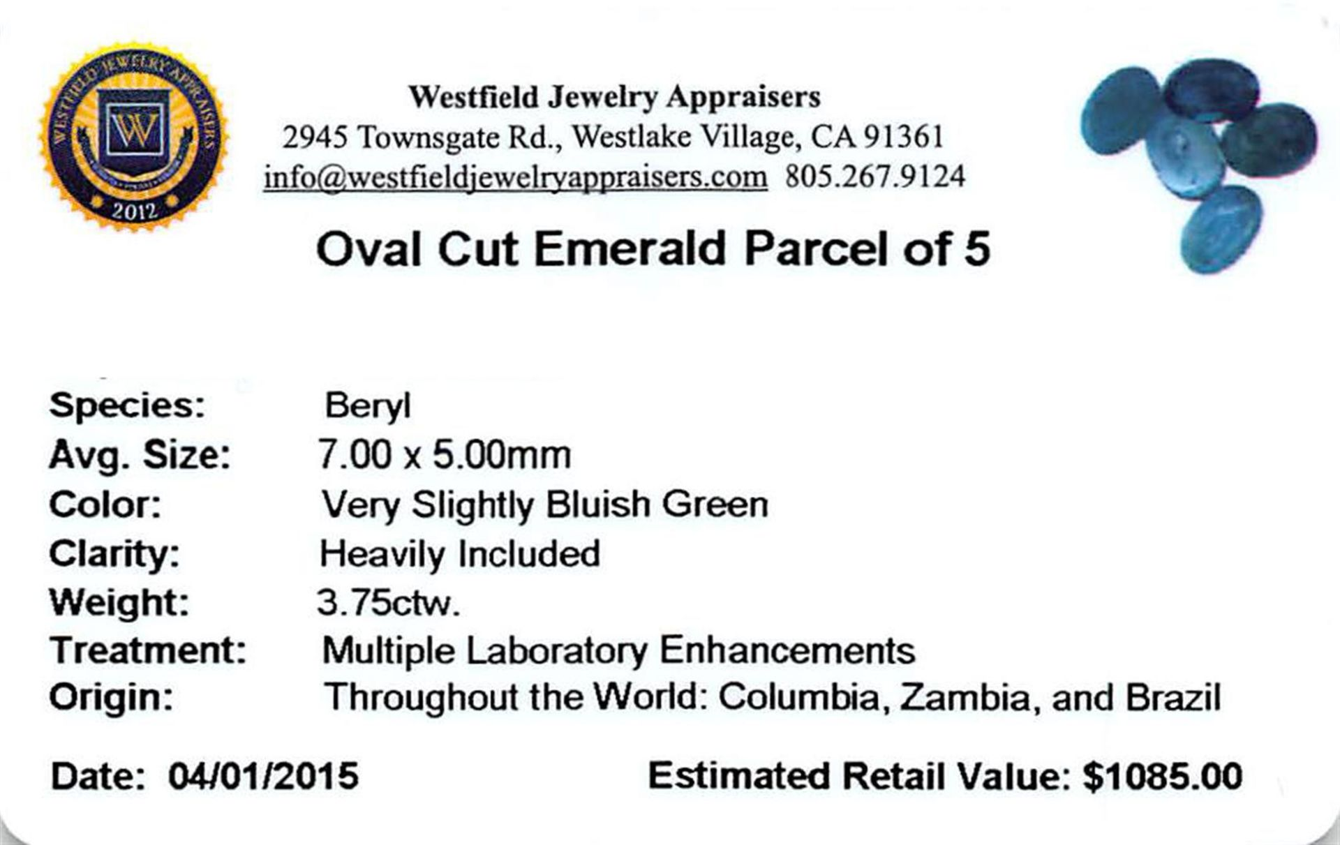 3.75 ctw Oval Mixed Emerald Parcel - Image 2 of 2