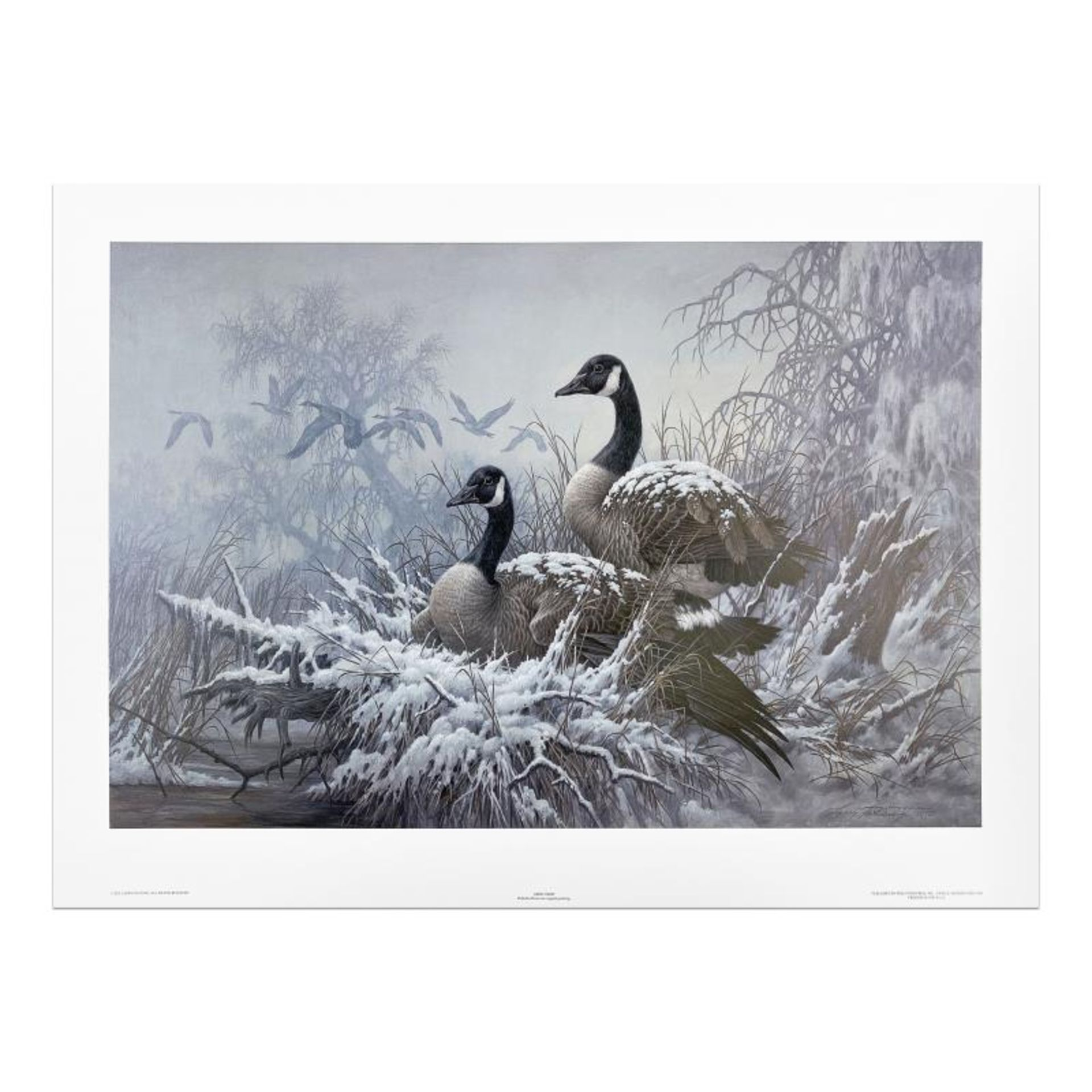 """Larry Fanning (1938-2014), """"April Snow - Canada Geese"""" Limited Edition Lithograp"""