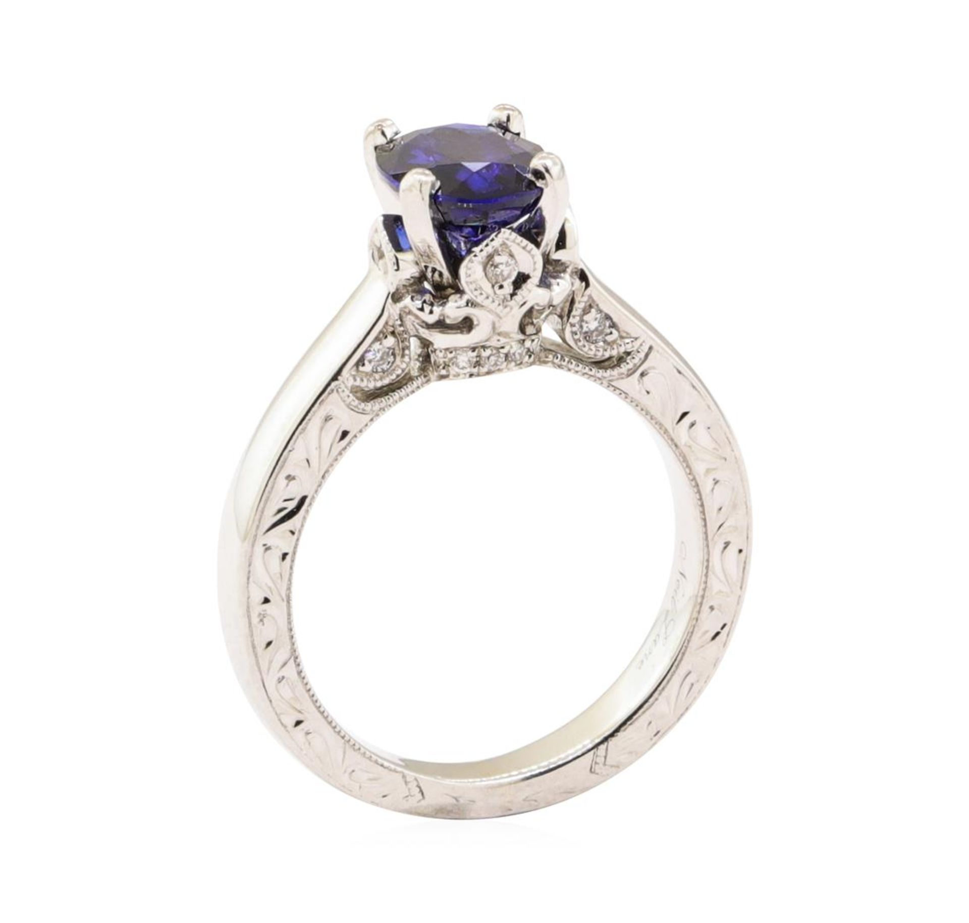 1.66 ctw Blue Sapphire and Diamond Ring - 14KT White Gold - Image 4 of 4