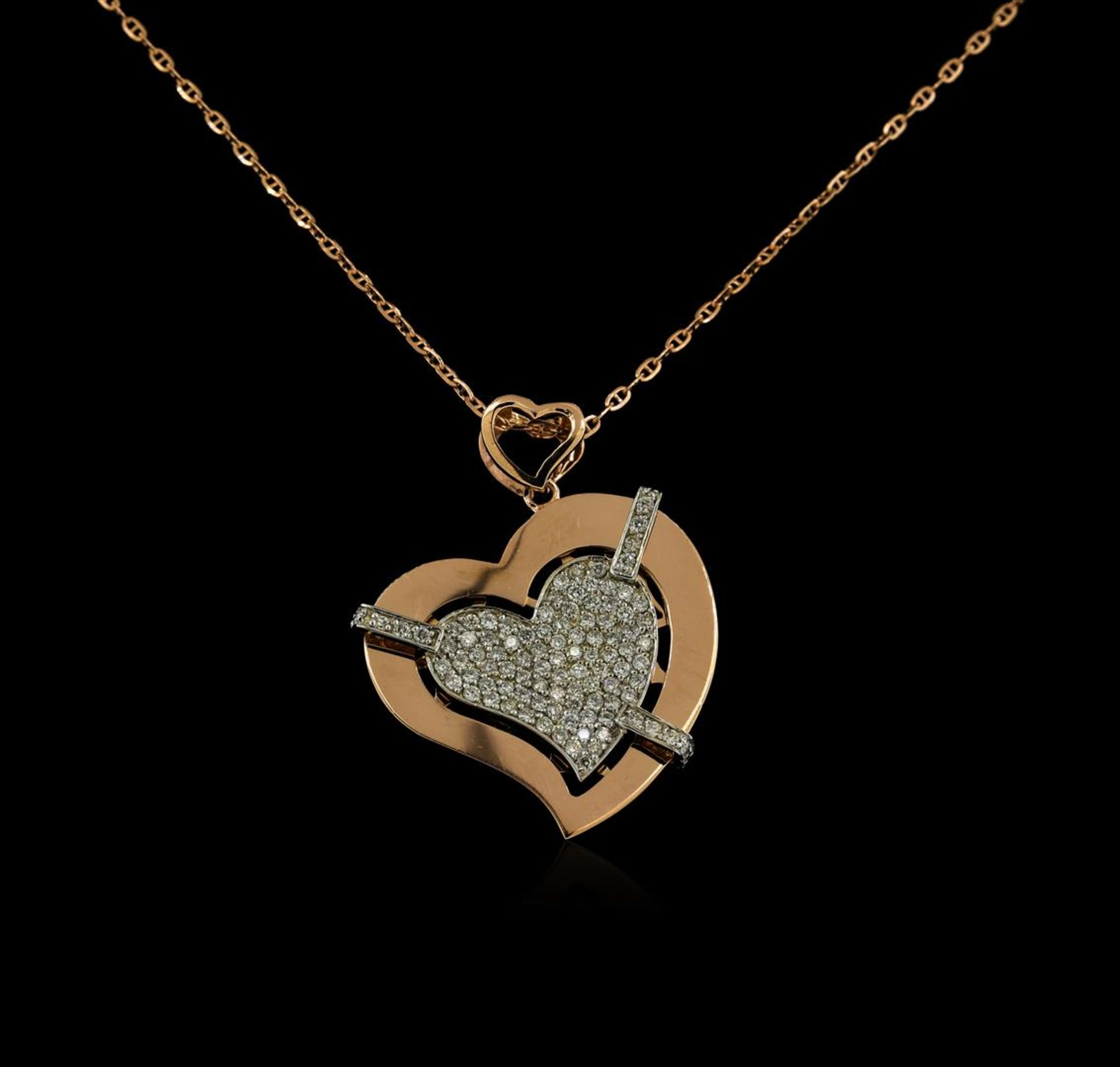 0.72 ctw Diamond Pendant With Chain - 14KT Rose Gold - Image 2 of 3