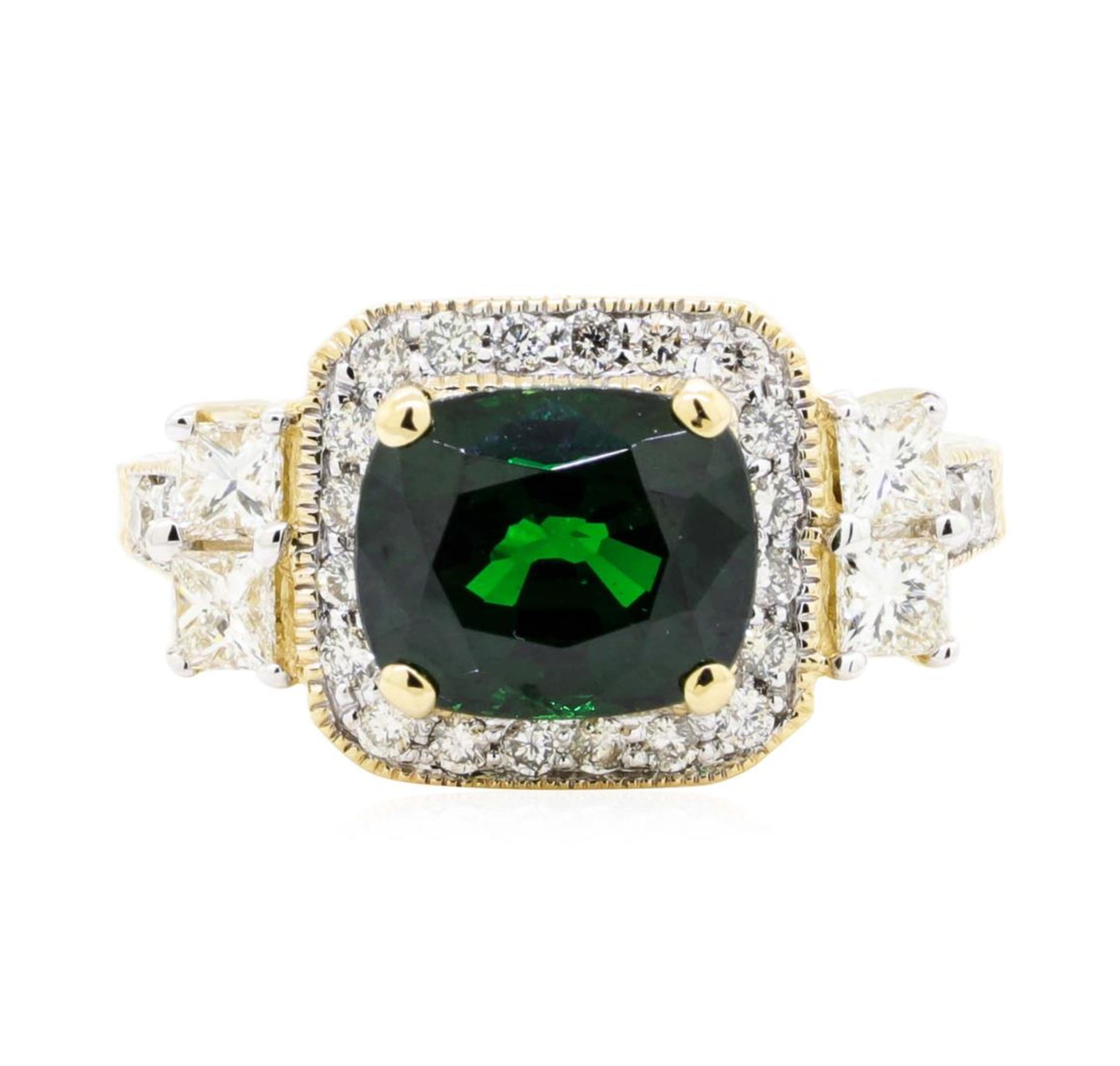 4.44 ctw Rectangular Cushion Mixed Tsavorite Garnet And Princess Cut Diamond Rin - Image 2 of 5