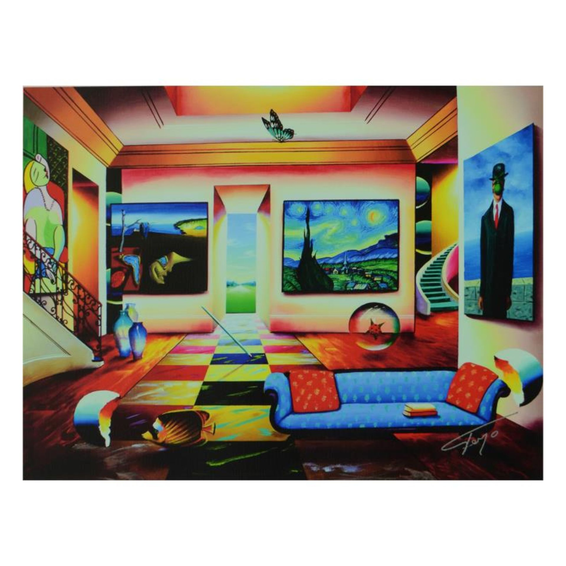 "Ferjo, ""The Salon"" Limited Edition on Canvas, Numbered and Signed with Letter of"