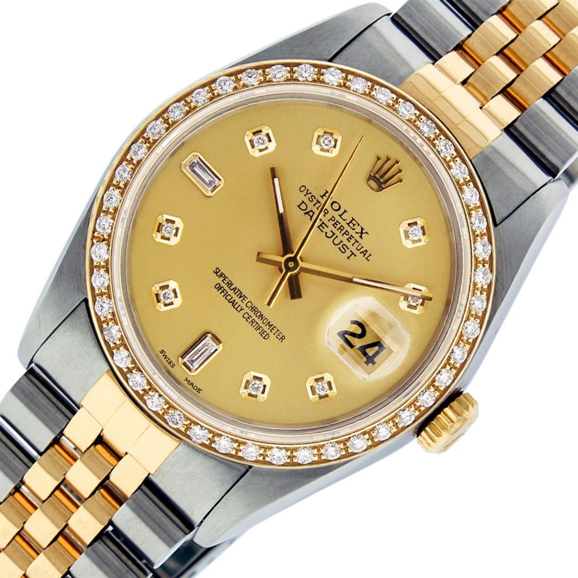 Rolex Mens 2 Tone Champagne Diamond 36MM Datejust Wriswatch - Image 2 of 9