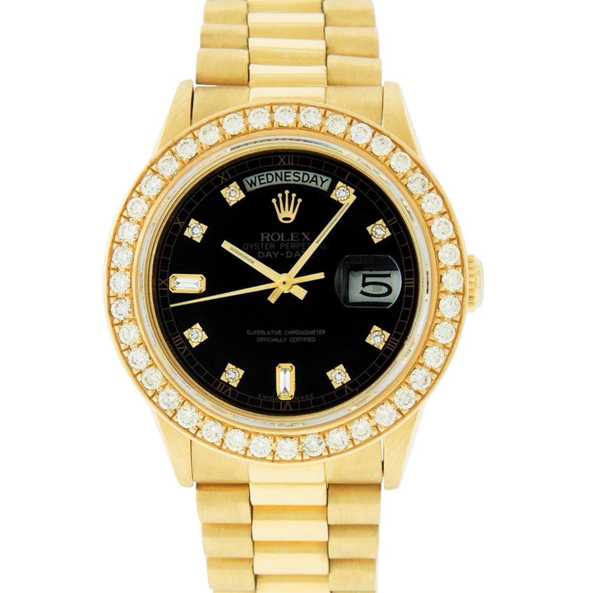 Rolex Mens 18K Yellow Gold Black Diamond 2.5 ctw Quickset President Wristwatch W - Image 2 of 6