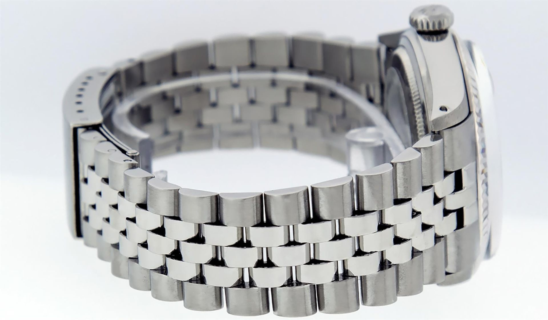Rolex Mens Stainless Steel Mother Of Pearl Diamond & Sapphire Datejust Wristwatc - Image 3 of 8