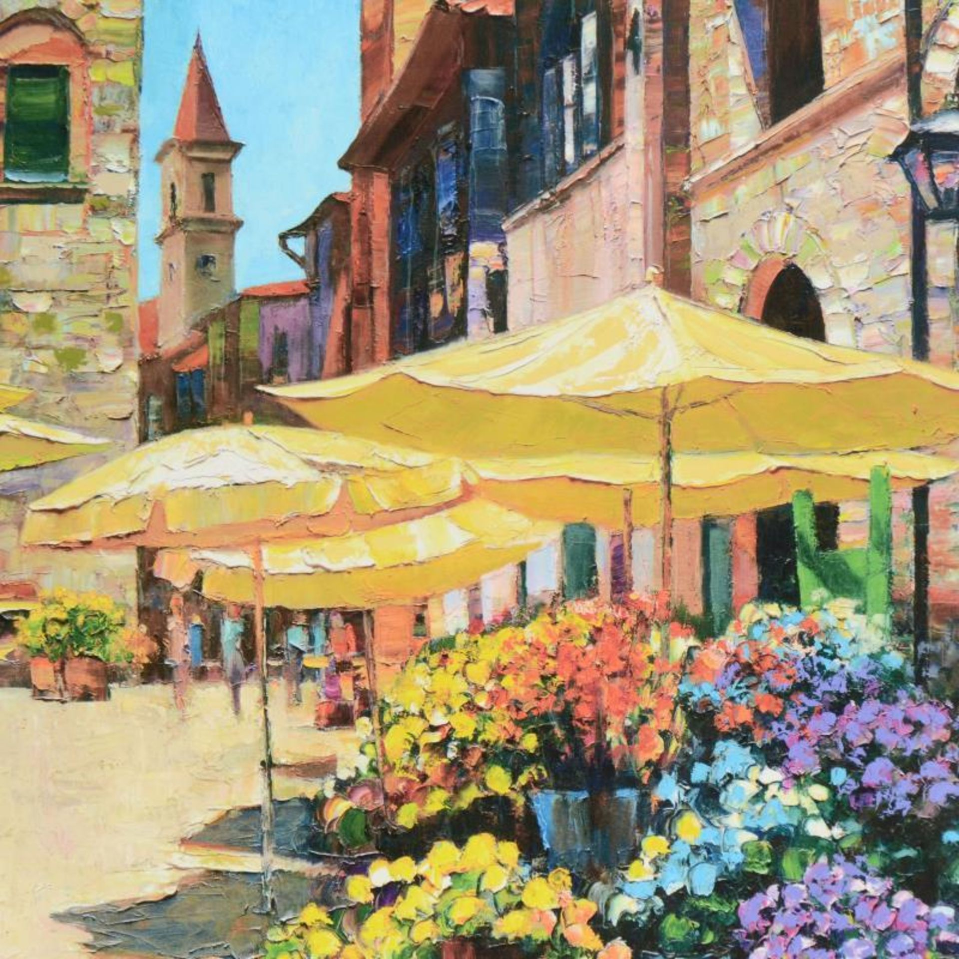 "Howard Behrens (1933-2014), ""Siena Flower Market"" Limited Edition on Canvas, Num - Image 2 of 2"