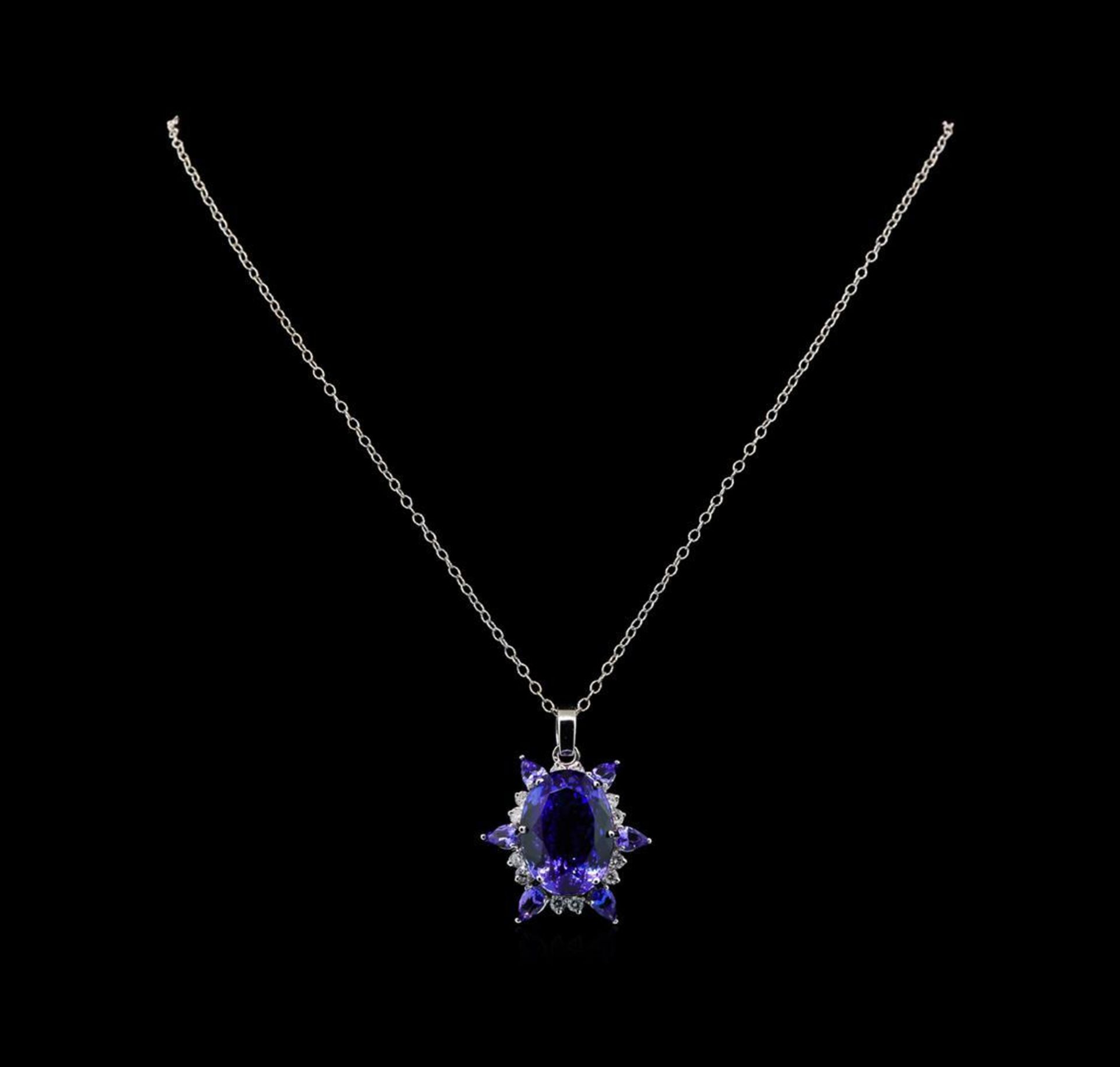 GIA Cert 28.43 ctw Tanzanite and Diamond Pendant With Chain - 14KT White Gold - Image 2 of 4