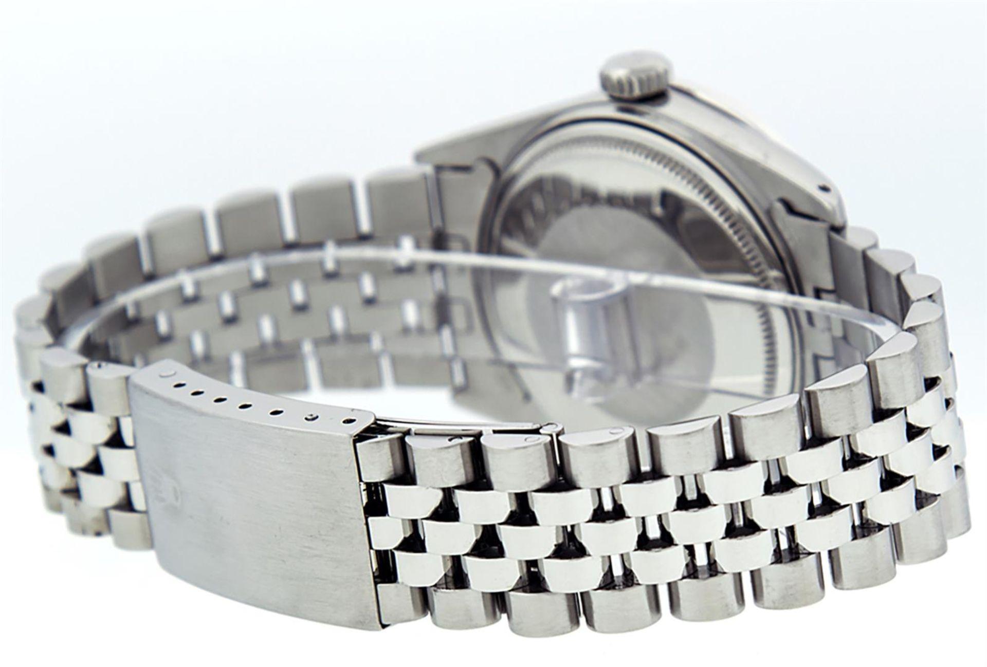 Rolex Mens Stainless Steel 36MM Blue Diamond Datejust Wristwatch - Image 5 of 9