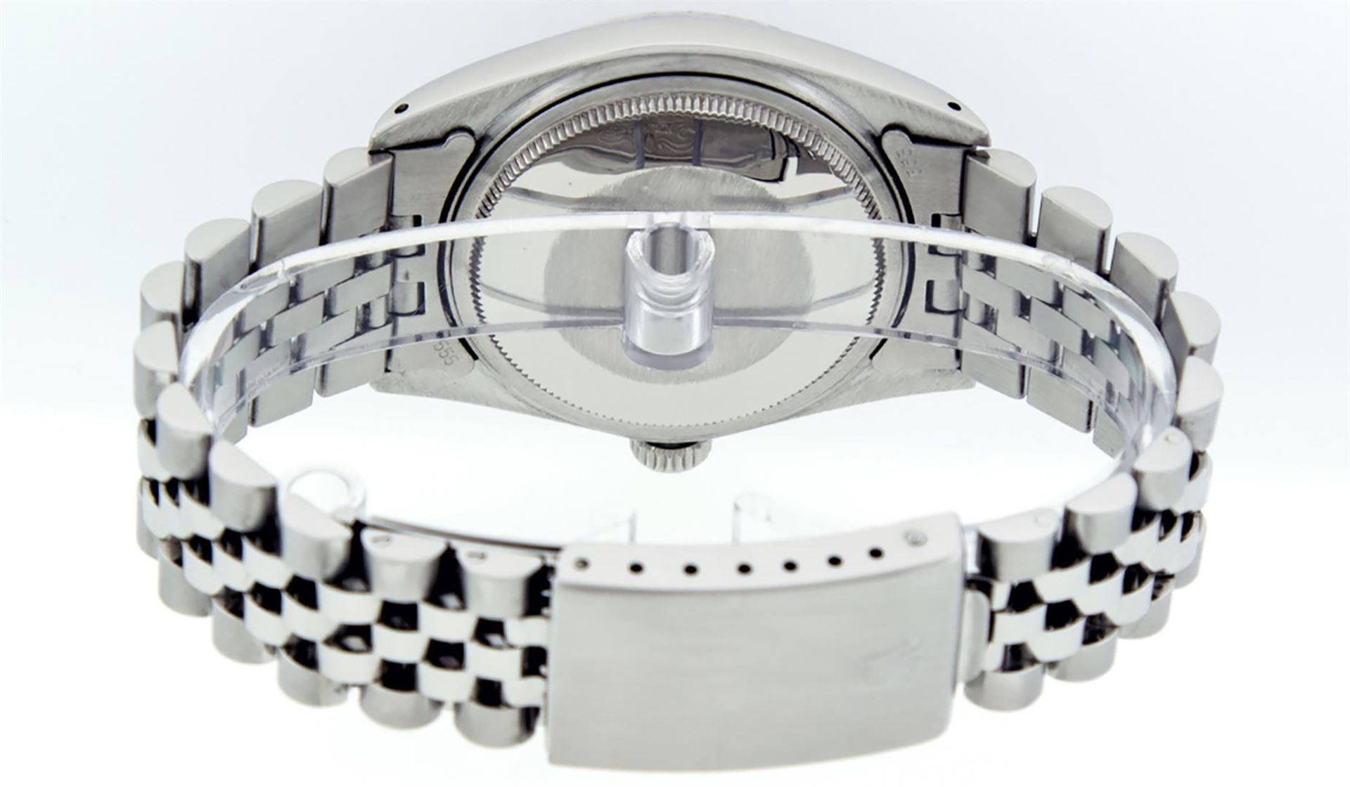 Rolex Mens Stainless Steel Mother Of Pearl Diamond & Sapphire Datejust Wristwatc - Image 7 of 8