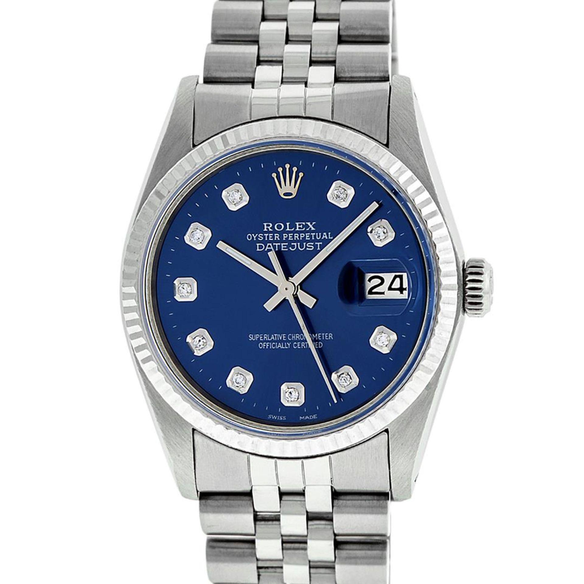 Rolex Mens Stainless Steel 36MM Blue Diamond Datejust Wristwatch - Image 3 of 9