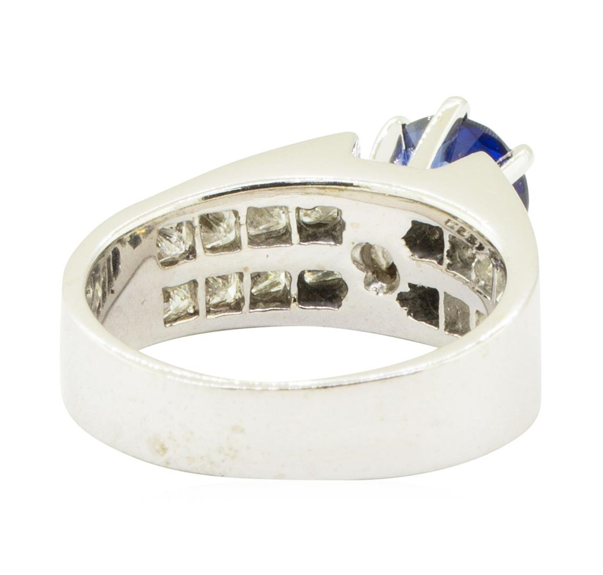 3.15 ctw Round Brilliant Blue Sapphire And Diamond Ring - 14KT White Gold - Image 3 of 5