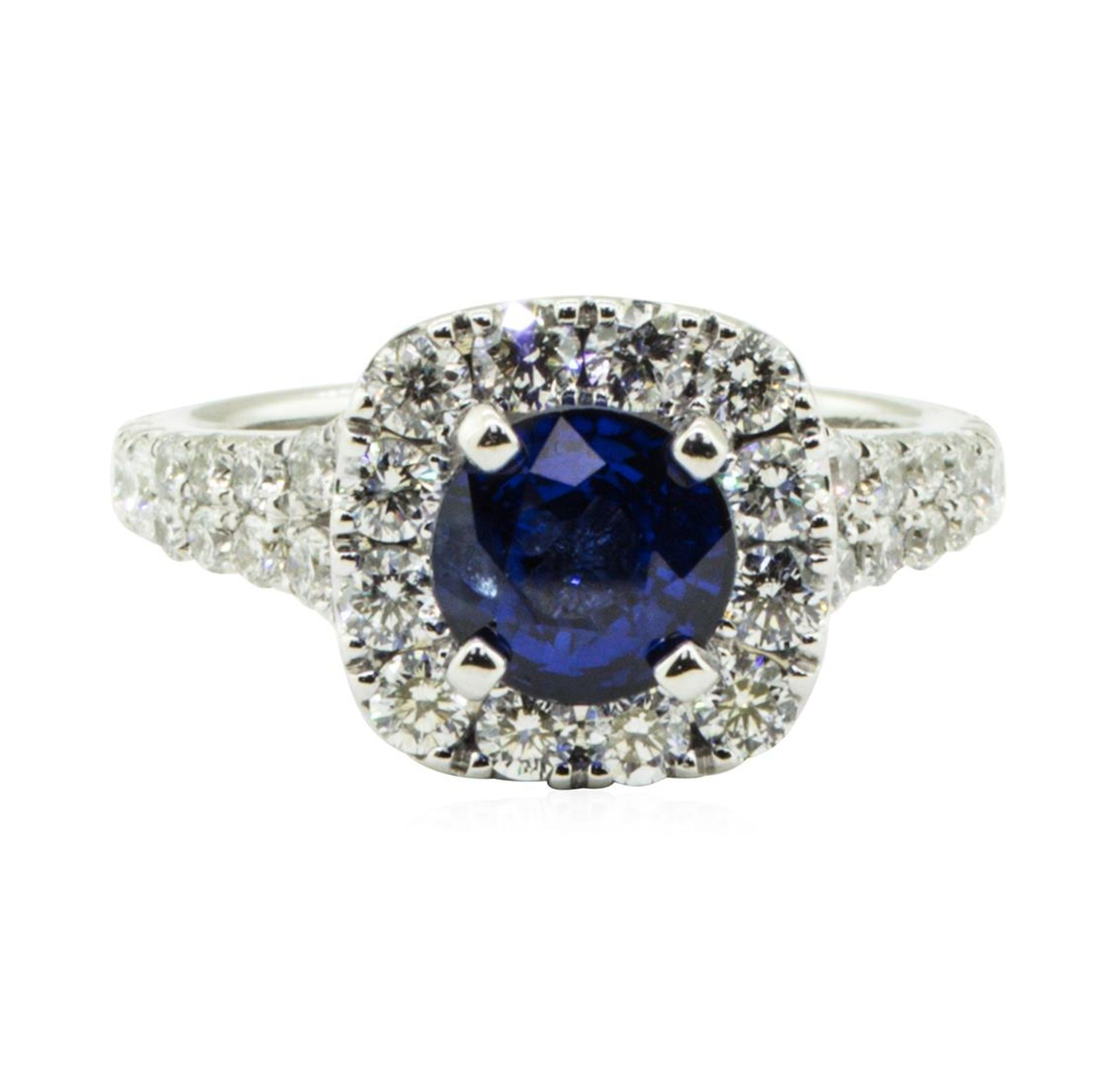 2.47 ctw Round Brilliant Blue Sapphire And Diamond Ring - 14KT White Gold - Image 2 of 5