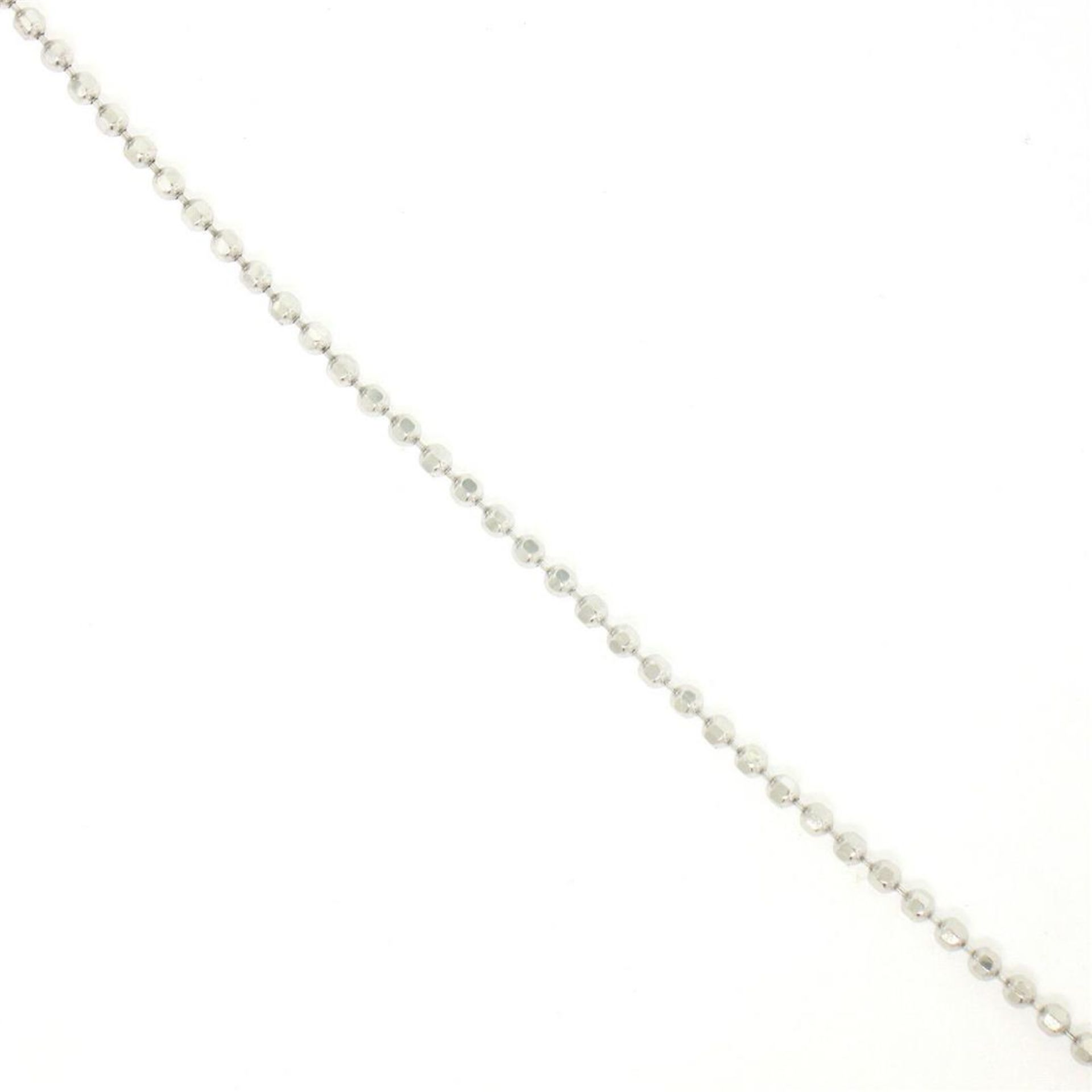 "14k White Gold 0.40 ctw Round Brilliant Diamond Open Heart Pendant 18"" Bead Chai - Image 6 of 7"
