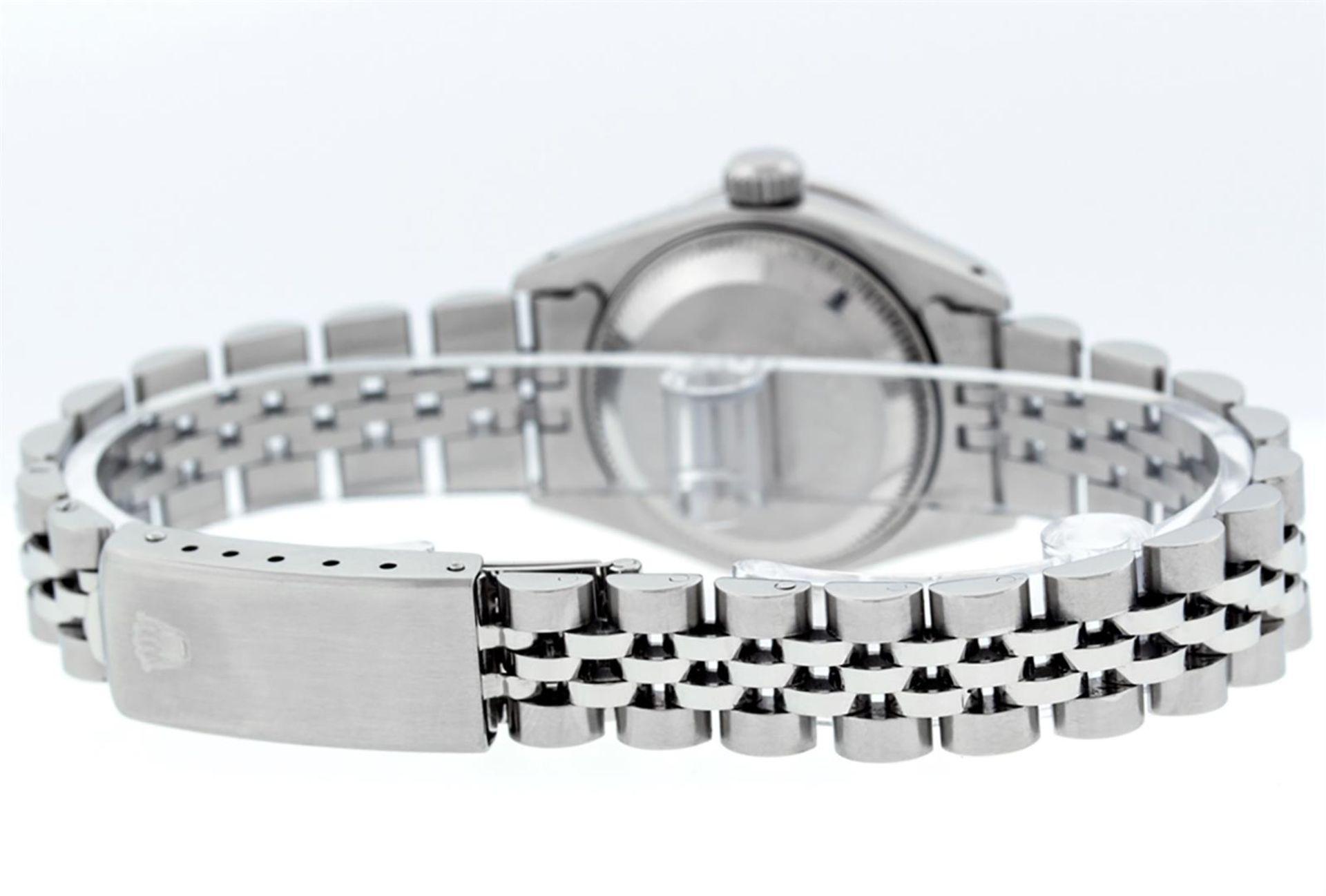 Rolex Ladies Stainless Steel 26MM Purple String Diamond Lugs Datejust Wristwatch - Image 6 of 9