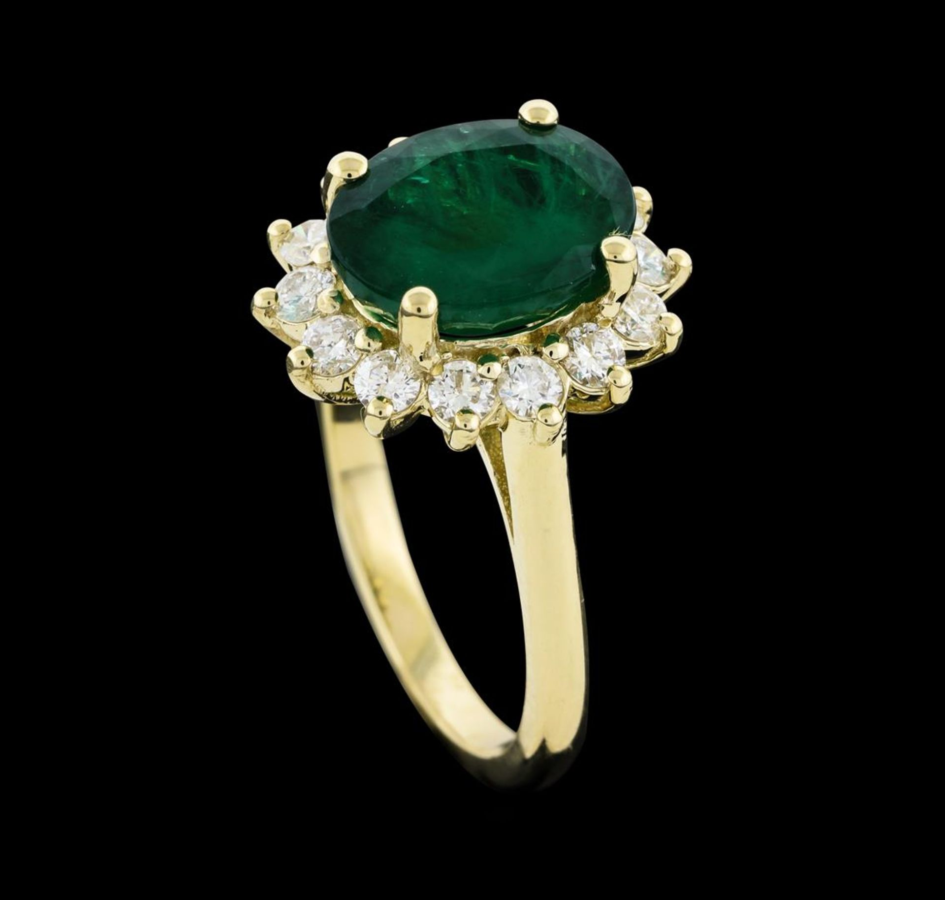 3.40 ctw Emerald and Diamond Ring - 14KT Yellow Gold - Image 4 of 5