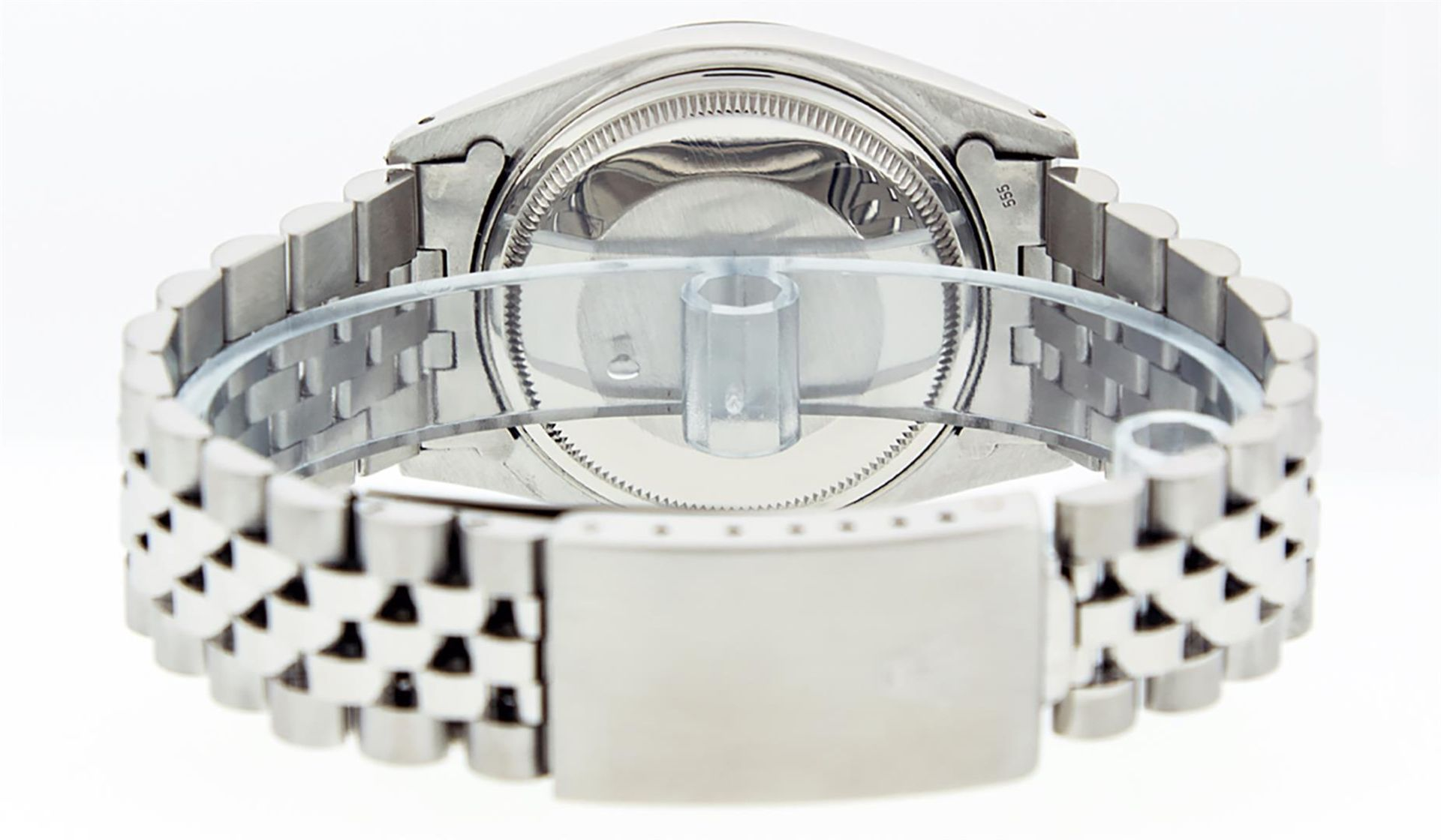 Rolex Mens Stainless Steel 36MM Blue Diamond Datejust Wristwatch - Image 8 of 9