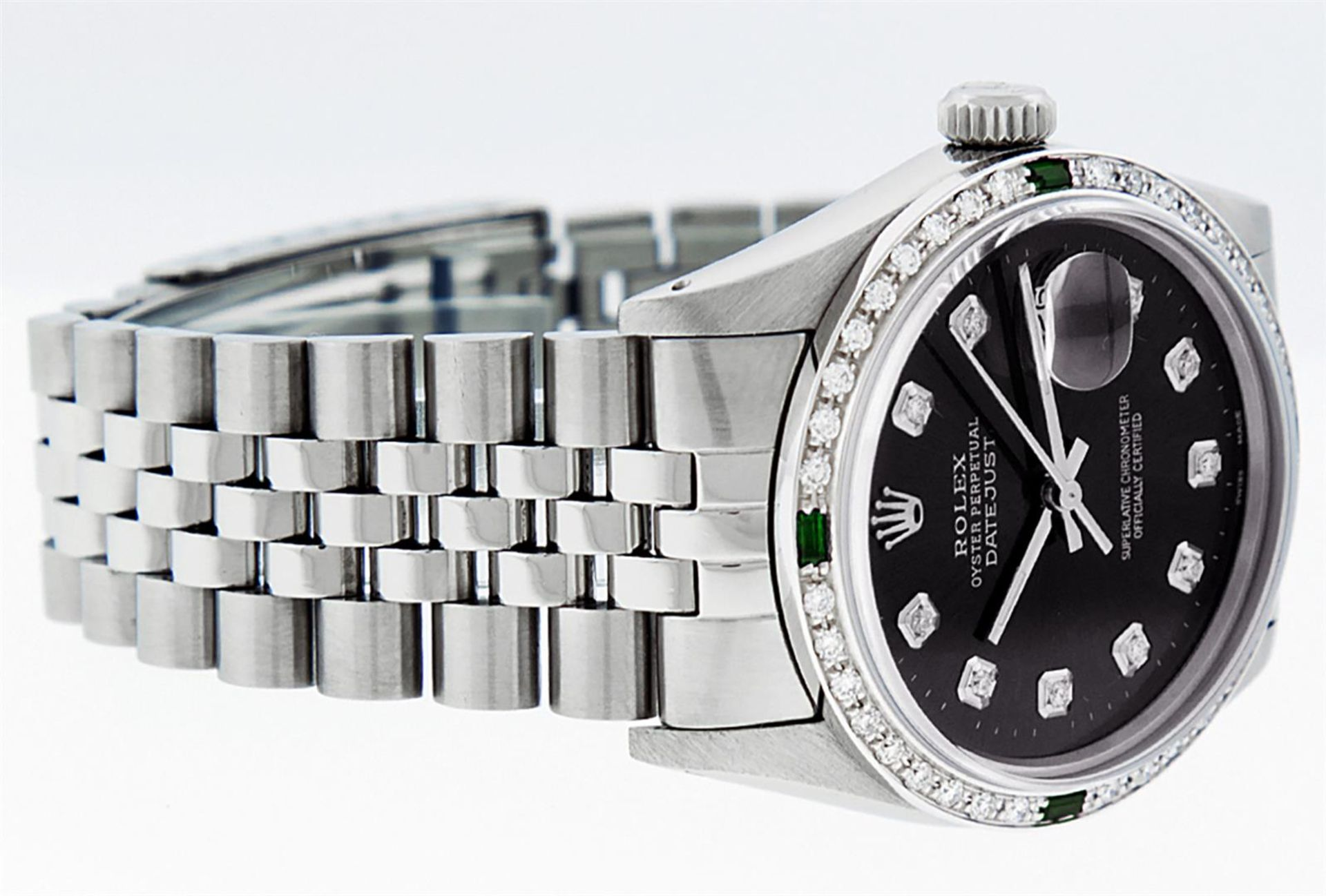 Rolex Mens Stainless Steel Black Diamond & Emerald Oyster Perpetual Datejust Wri - Image 5 of 9