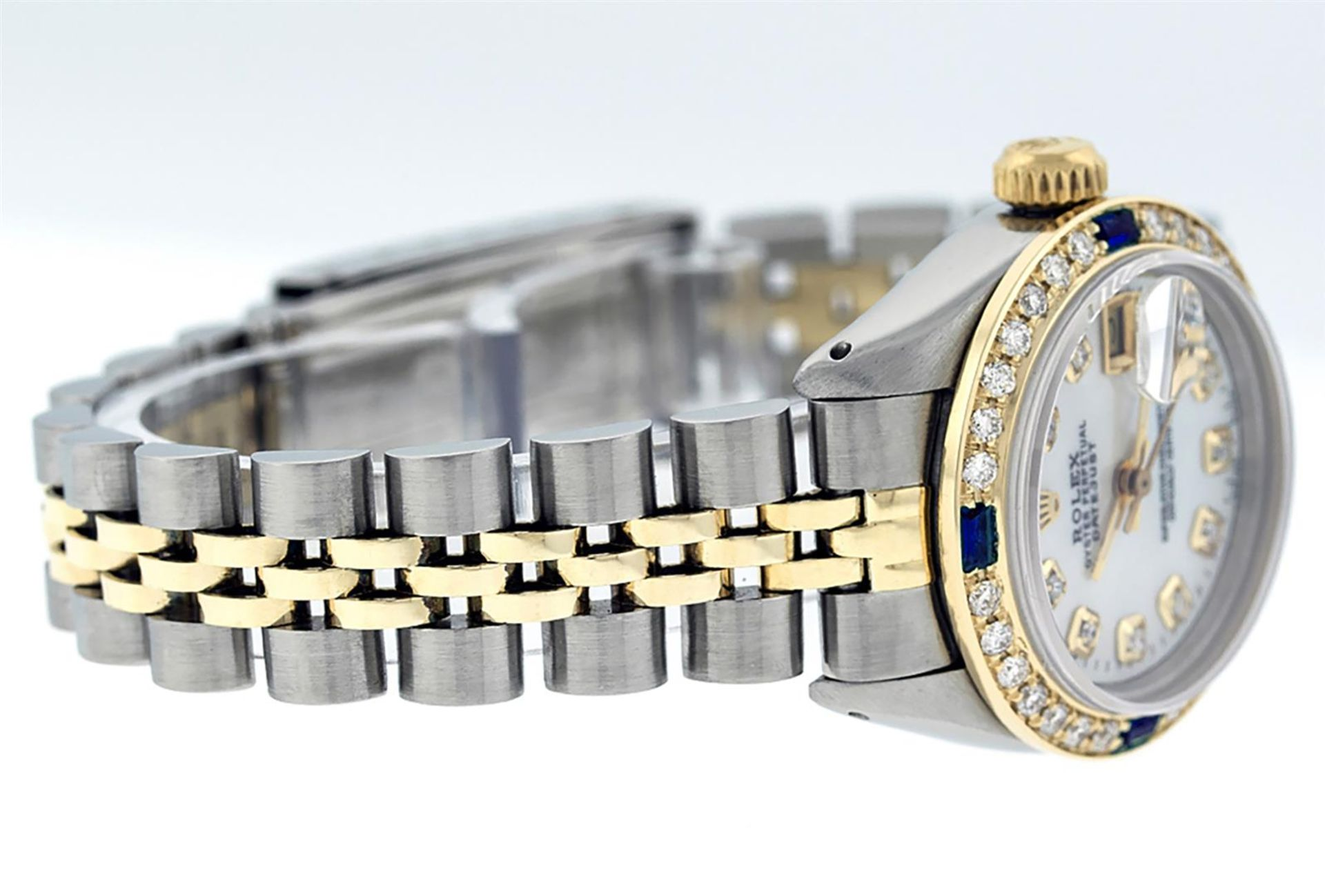 Rolex Ladies 2T 26 MOP Diamond & Sapphire Oyster Perpetual Datejust Serviced - Image 5 of 9