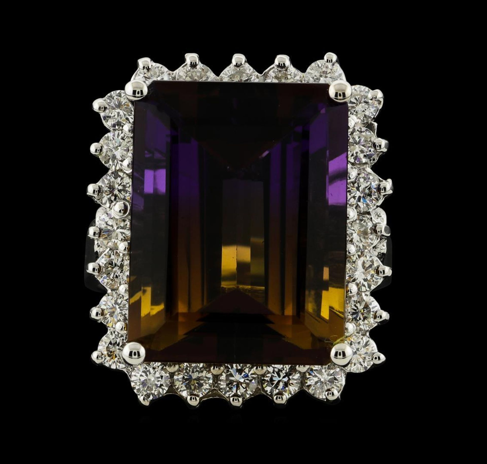 11.78 ctw Ametrine Quartz and Diamond Ring - 14KT White Gold - Image 2 of 5
