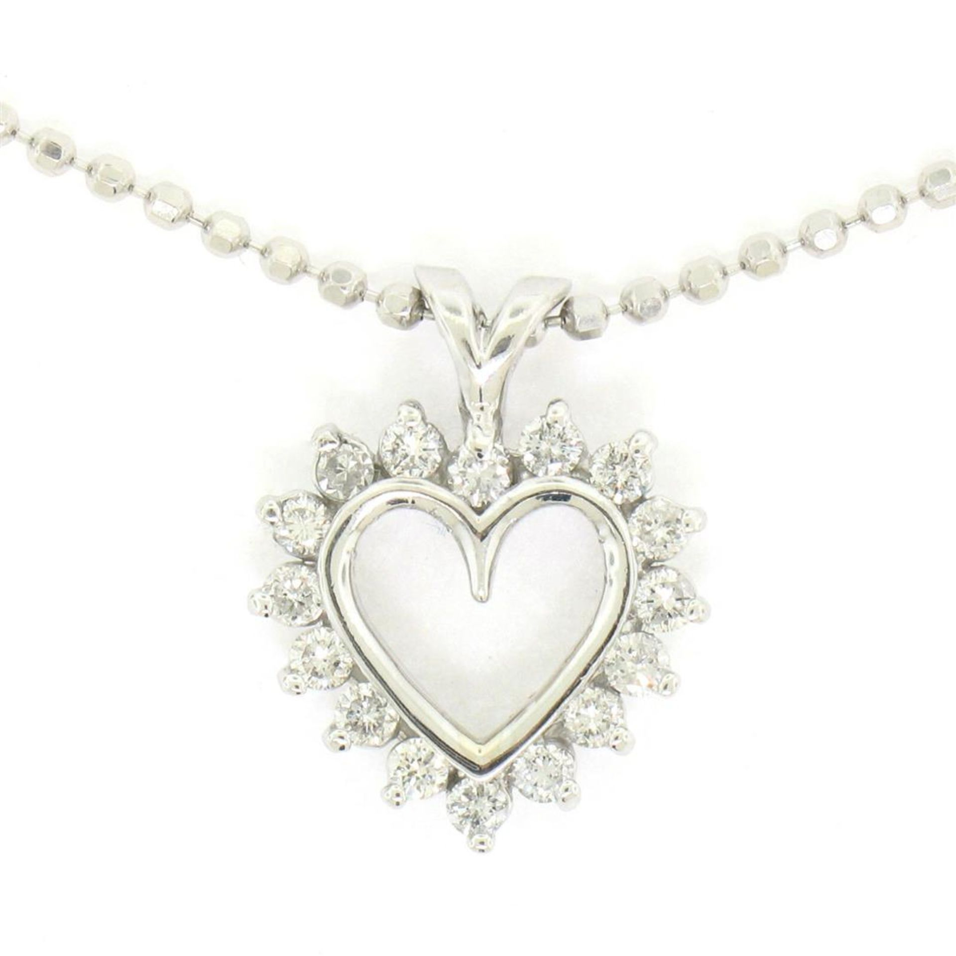 "14k White Gold 0.40 ctw Round Brilliant Diamond Open Heart Pendant 18"" Bead Chai - Image 2 of 7"