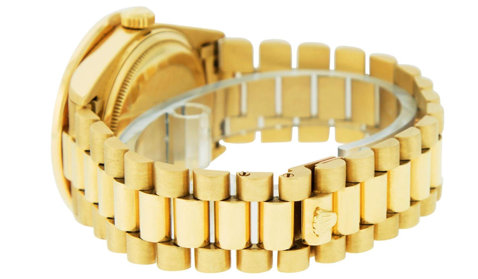 Rolex Mens 18K Yellow Gold Black Diamond 2.5 ctw Quickset President Wristwatch W - Image 6 of 6