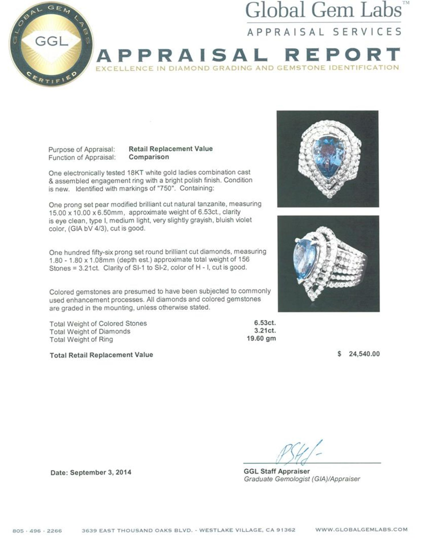 18KT White Gold 6.53 ctw Tanzanite and Diamond Ring - Image 3 of 3