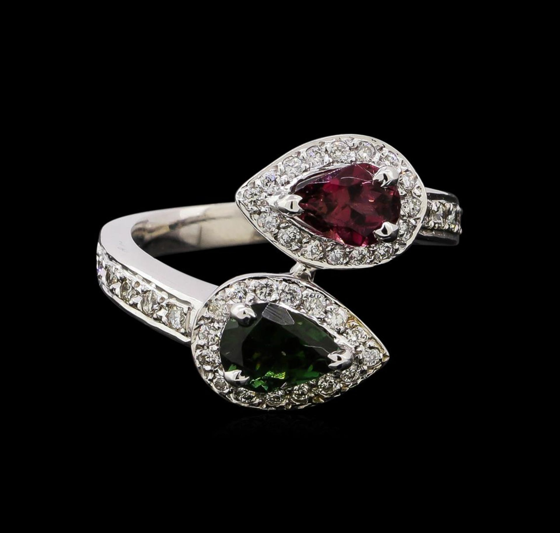 1.22 ctw Tourmaline and Diamond Ring - 14KT White Gold - Image 2 of 4