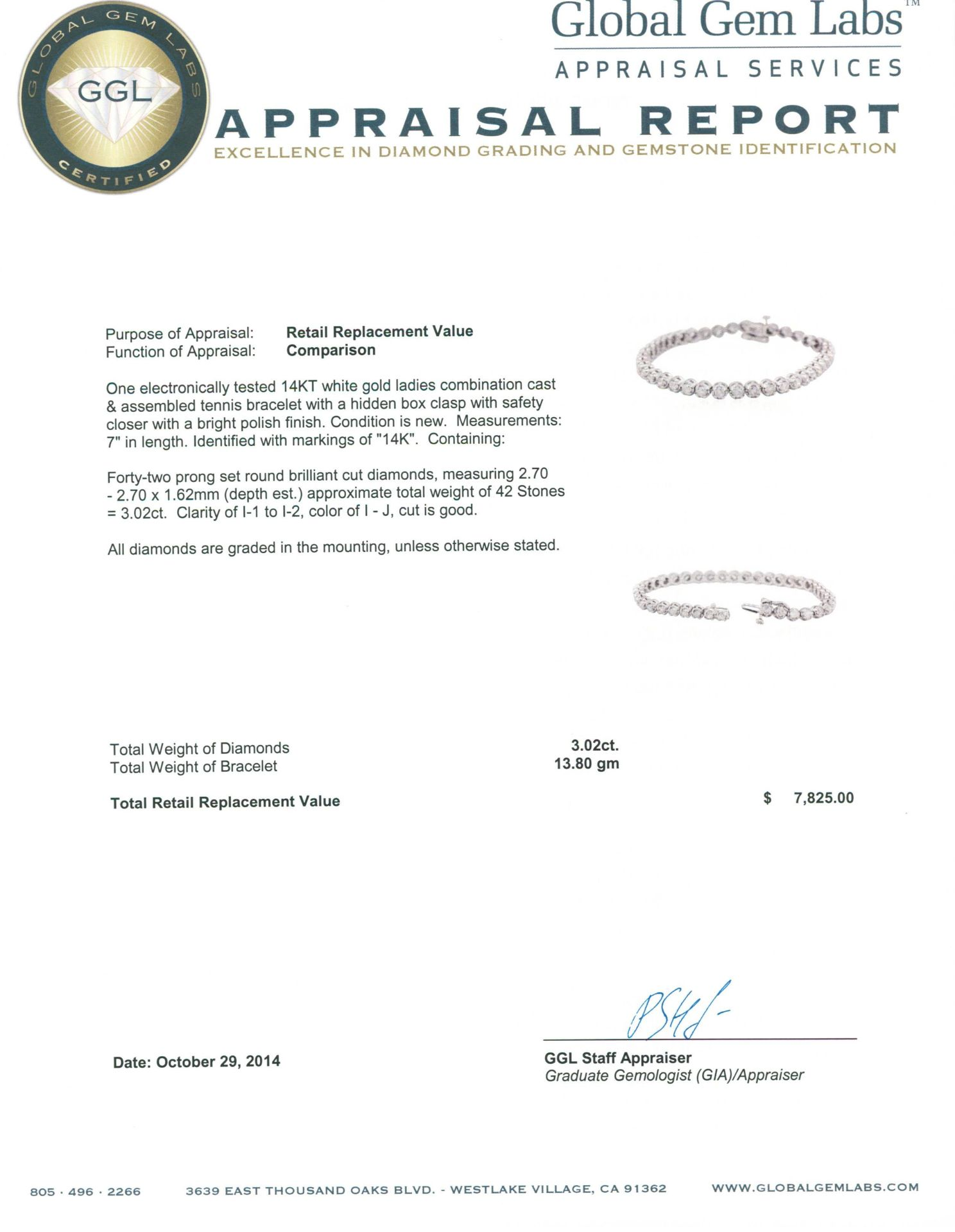 14KT White Gold 3.02 ctw Diamond Tennis Bracelet - Image 4 of 4