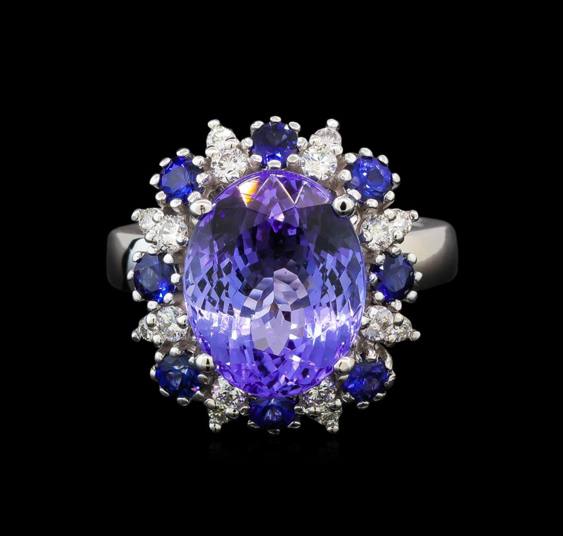 14KT White Gold 6.56 ctw Tanzanite, Sapphire and Diamond Ring - Image 2 of 5