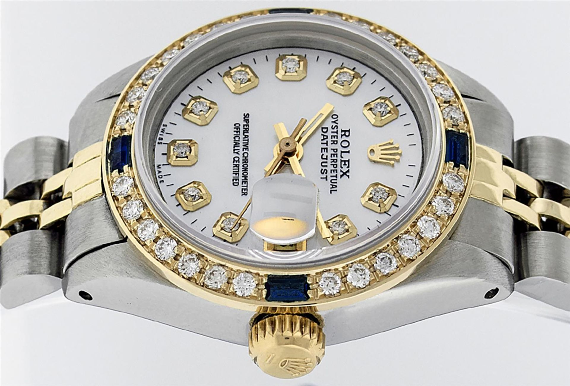 Rolex Ladies 2T 26 MOP Diamond & Sapphire Oyster Perpetual Datejust Serviced - Image 4 of 9