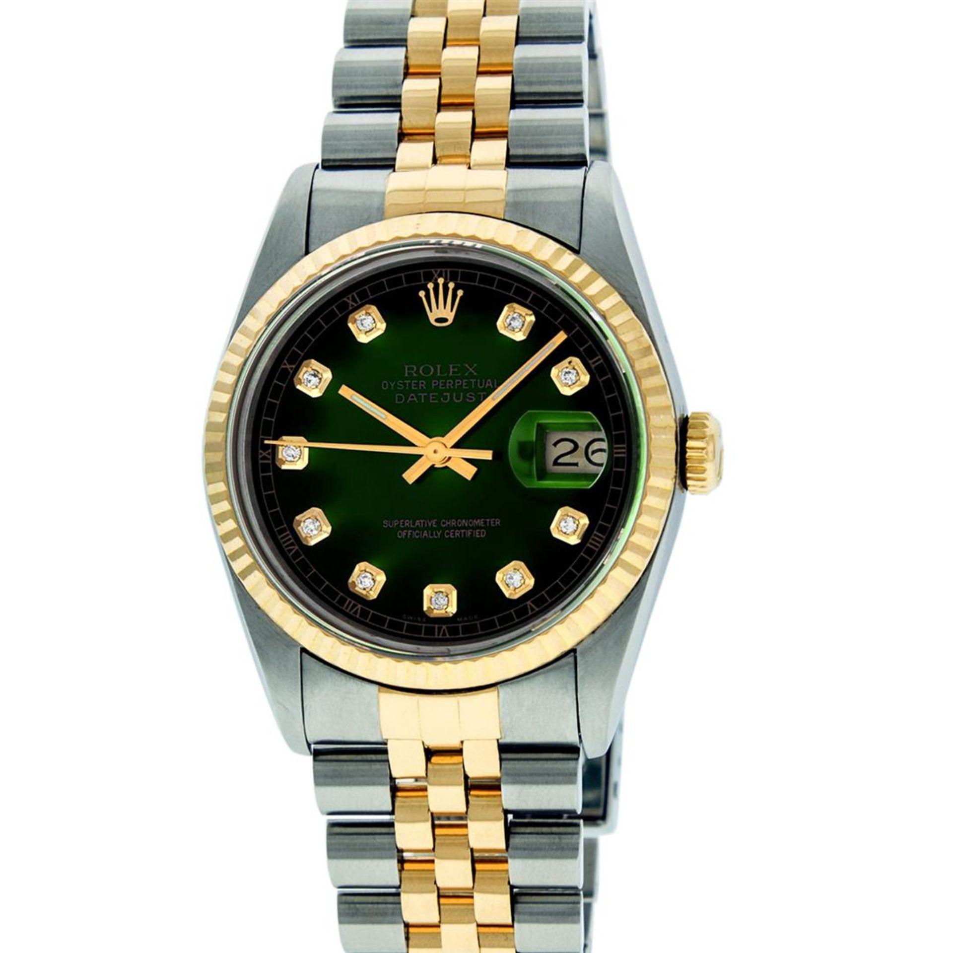 Rolex Mens 2 Tone MOP Diamond 36MM Datejust Wristwatch - Image 2 of 7