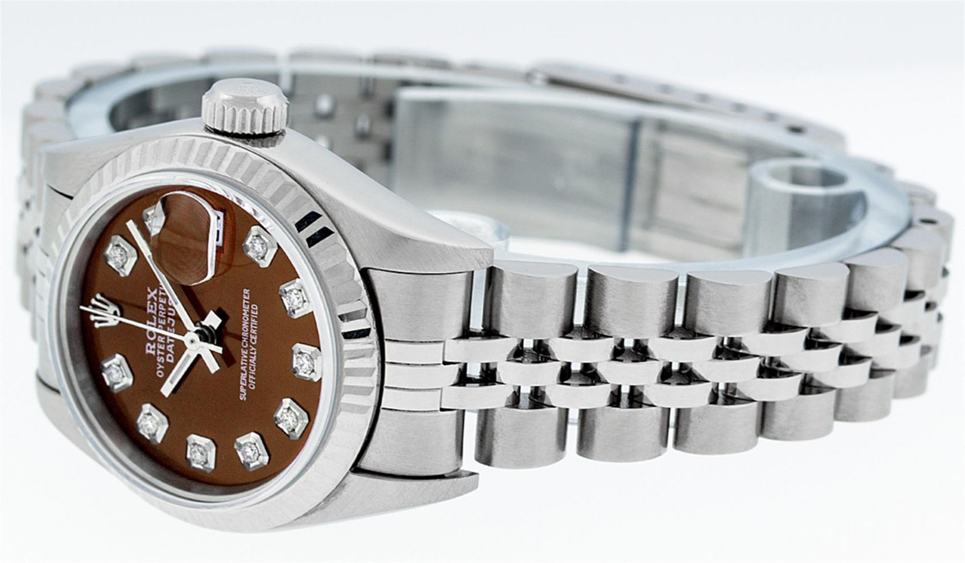 Rolex Ladies Stainless Steel Mother Of Pearl Diamond Quickset Datejust Wristwatc - Image 7 of 9