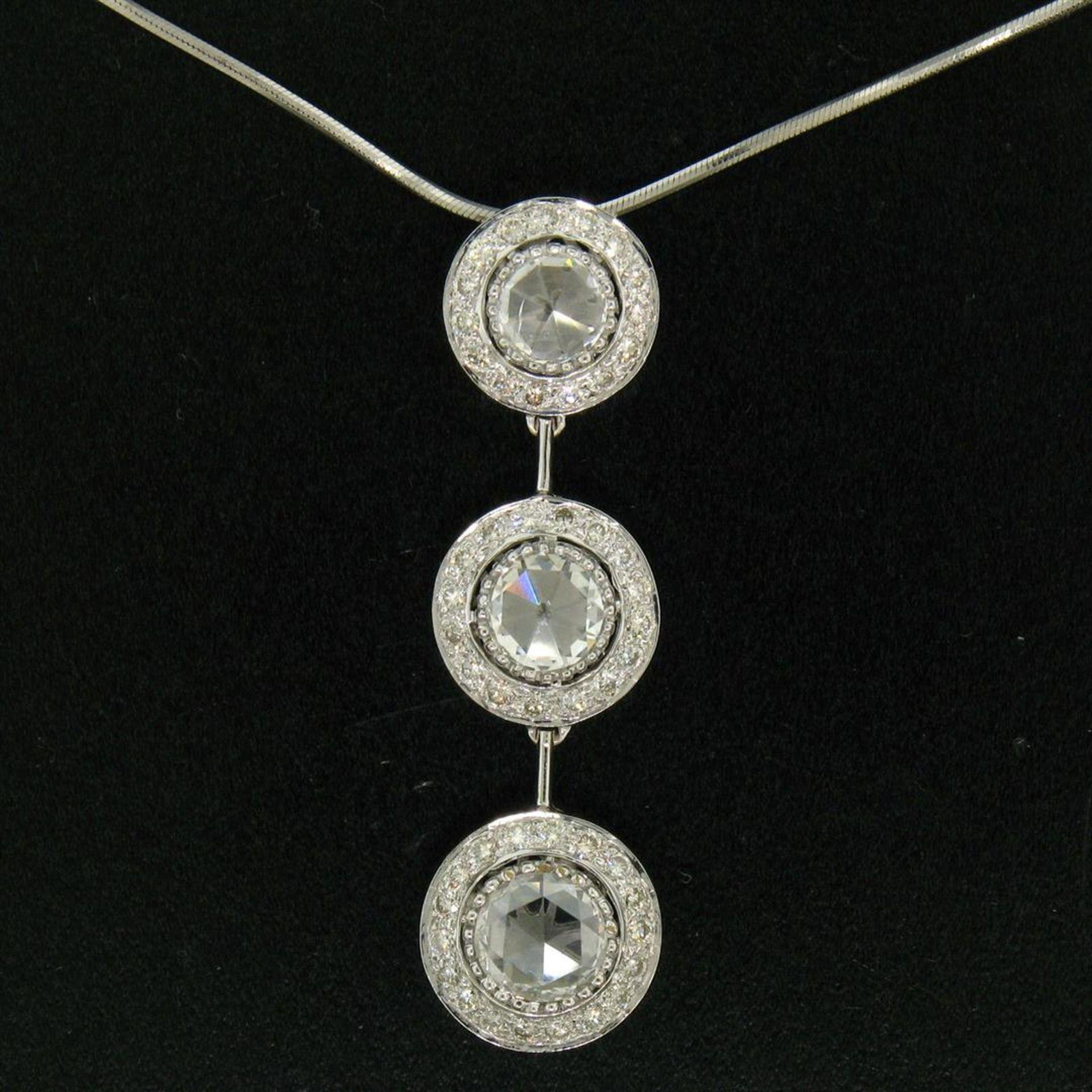 Vintage 18K White Gold 2.59 ctw 3 Rose Cut Diamond Drop Pendant w/ Triple Halo - Image 2 of 9