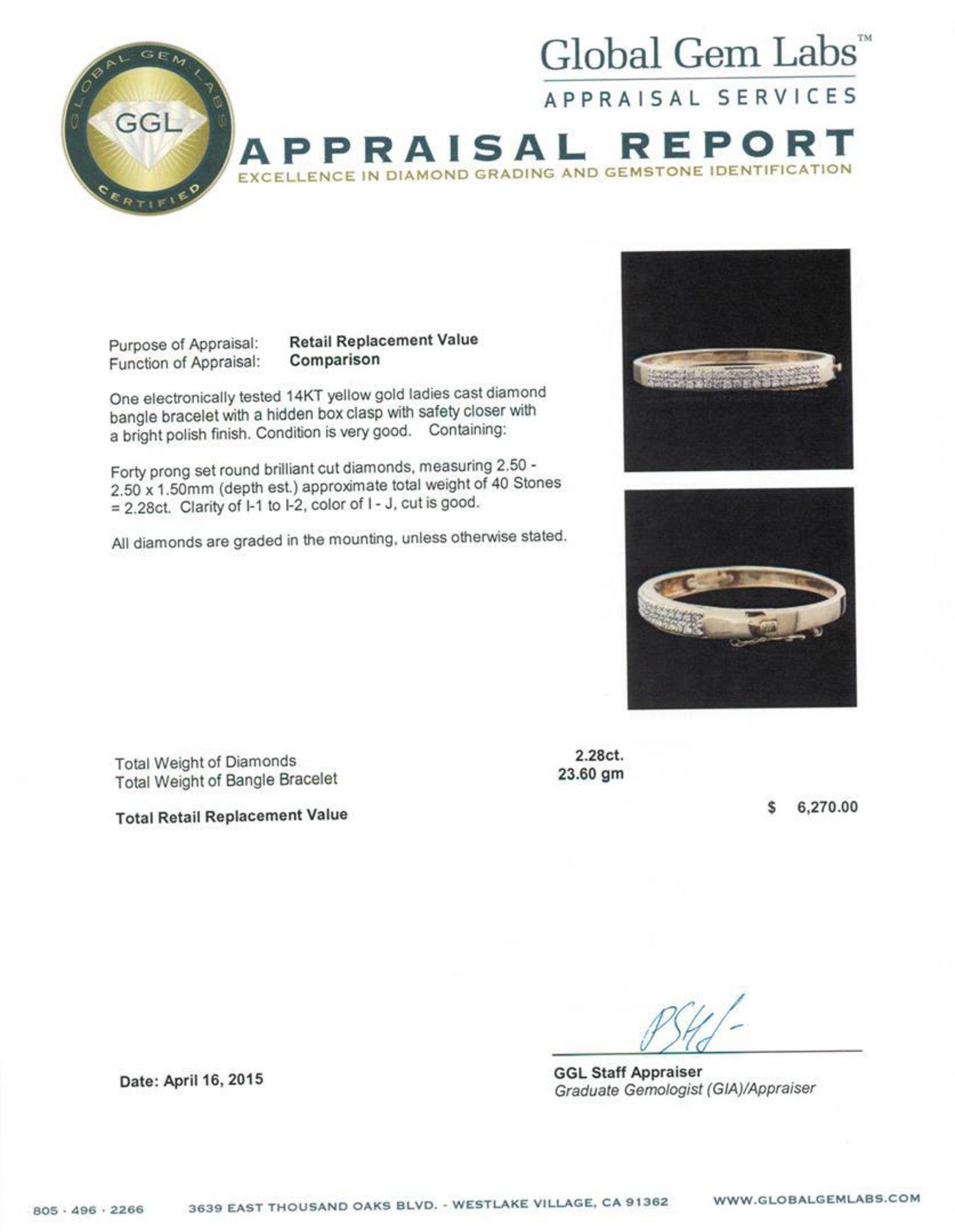 14KT Yellow Gold 2.28 ctw Diamond Bracelet - Image 4 of 4
