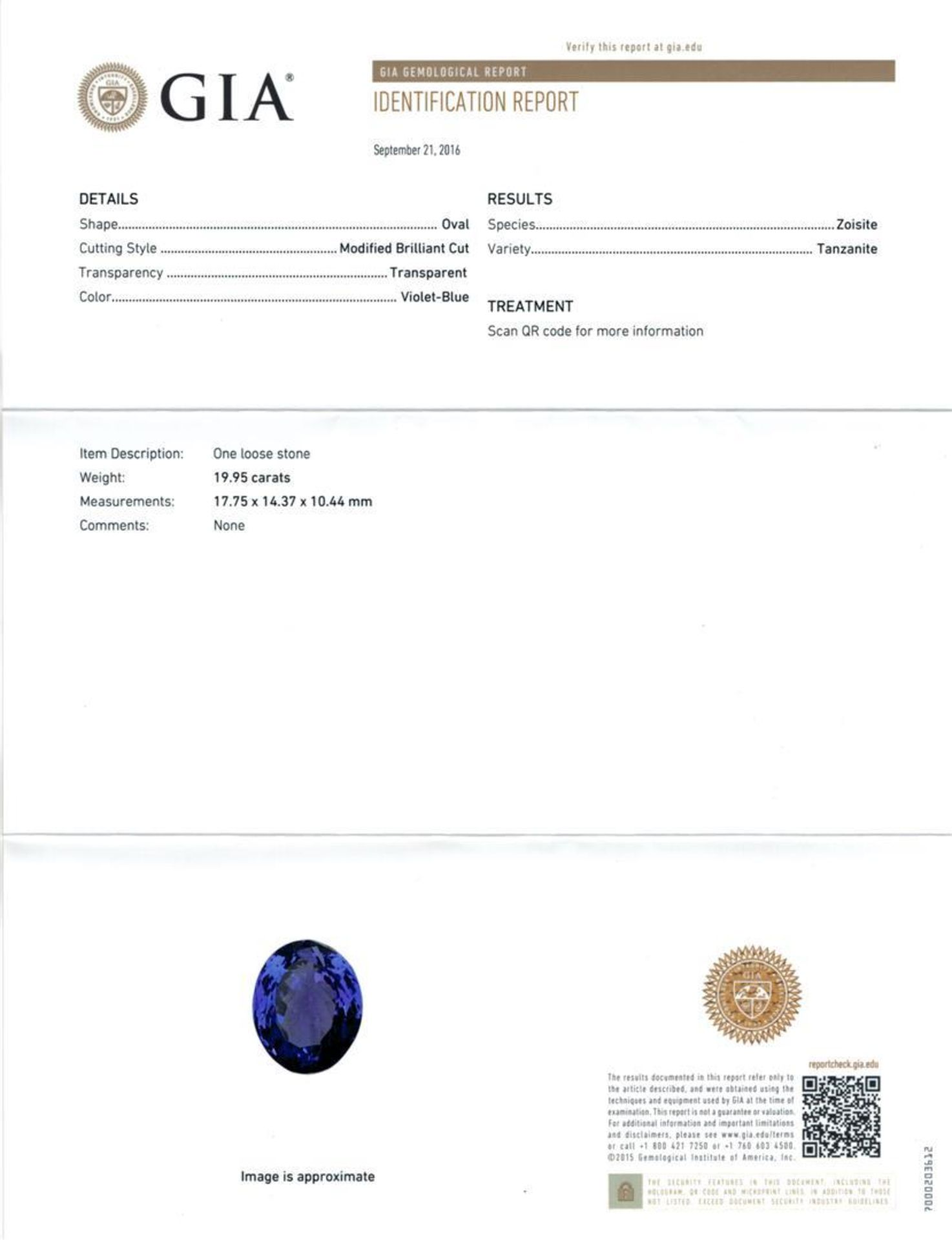 GIA Cert 19.95 ctw Tanzanite and Diamond Ring - 14KT White Gold - Image 6 of 6