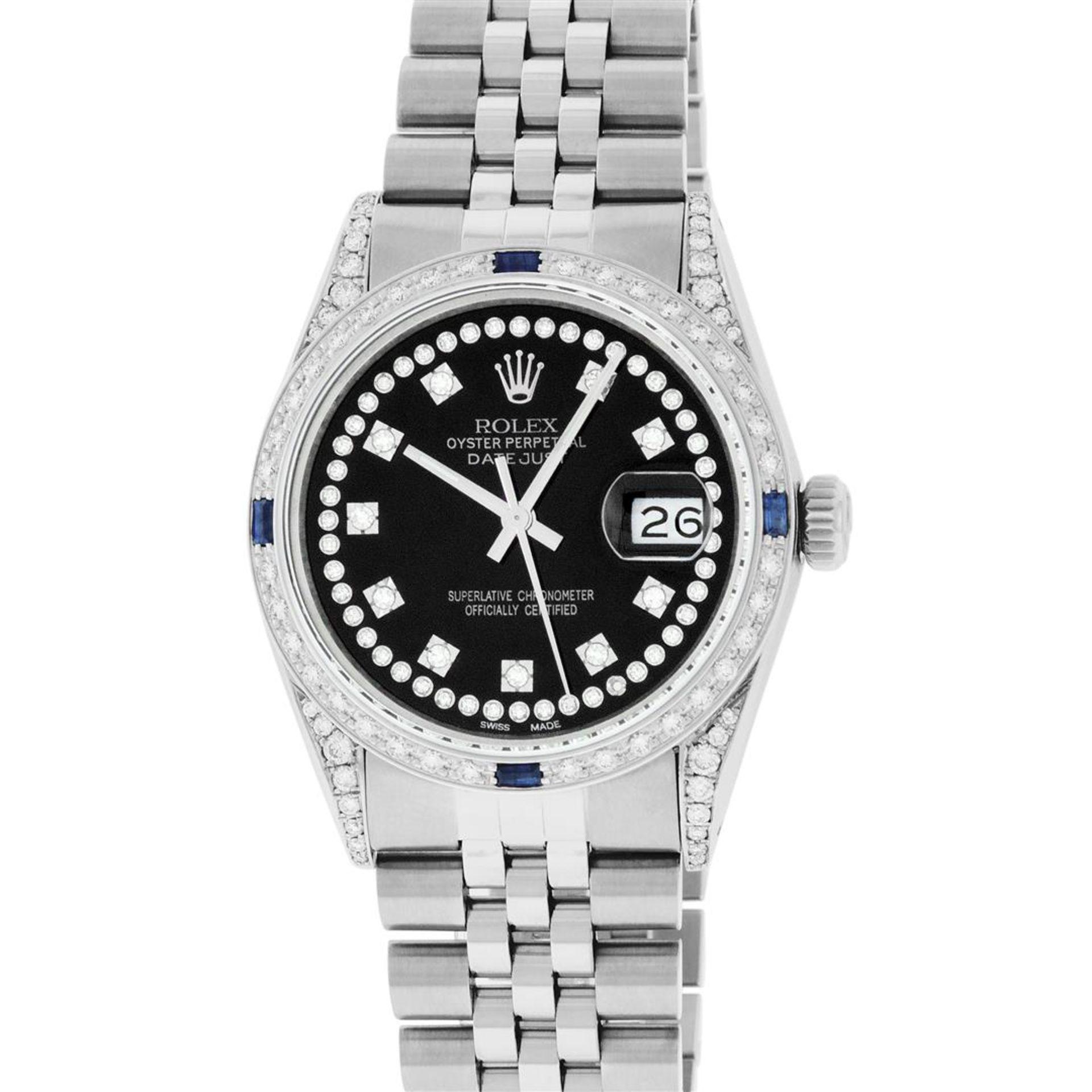Rolex Mens Stainless Steel Black Diamond Lugs & Sapphire Datejust Wristwatch Oys