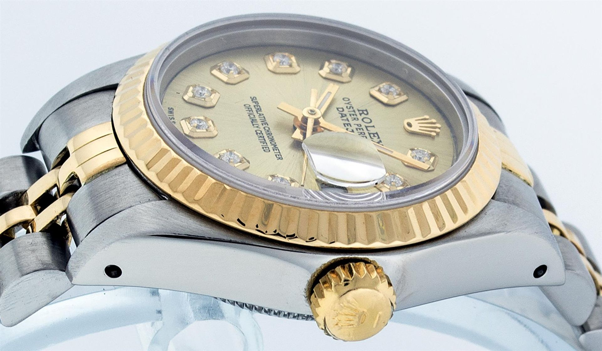 Rolex Ladies 2 Tone Champagne Diamond 26MM Datejust Wristwatch - Image 3 of 9
