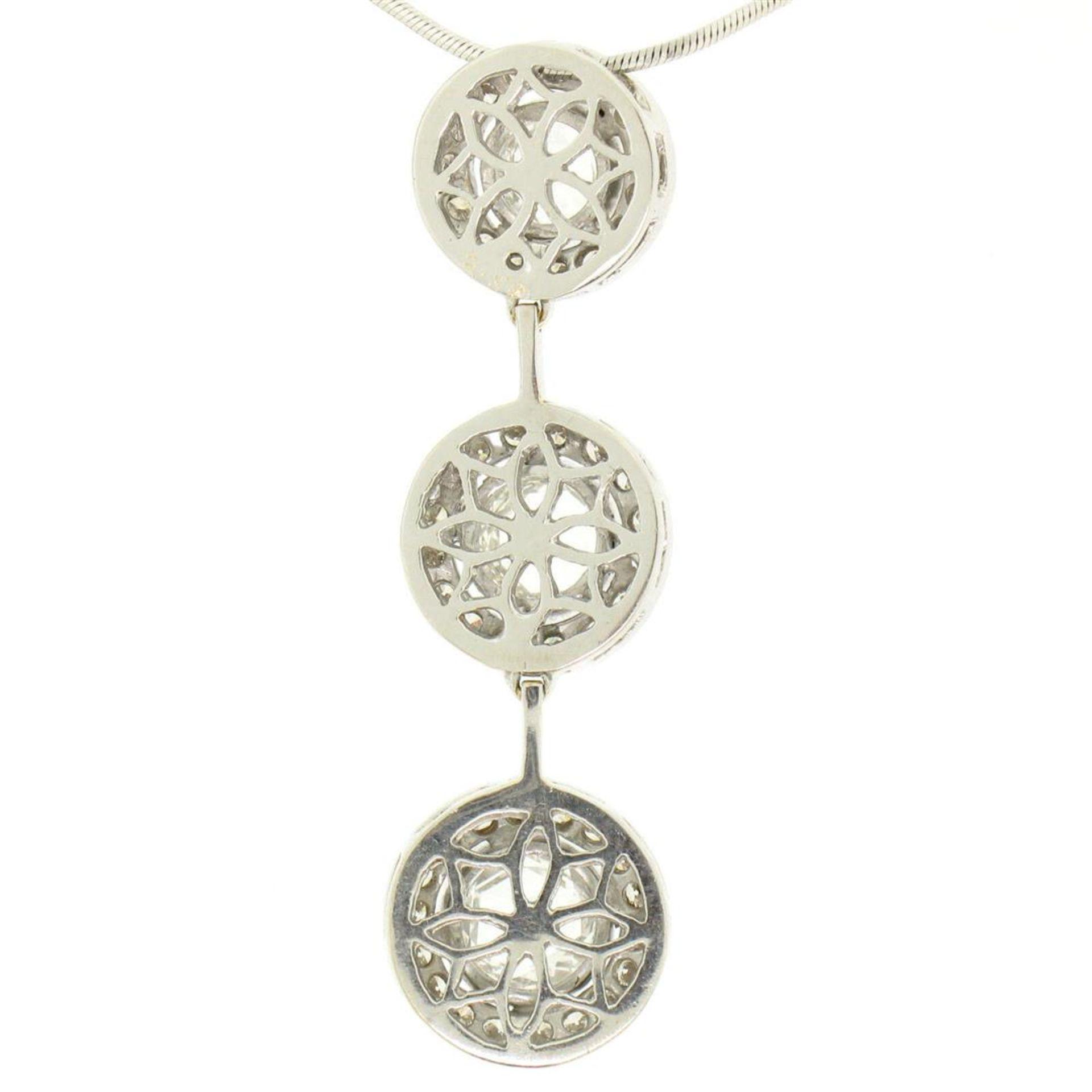 Vintage 18K White Gold 2.59 ctw 3 Rose Cut Diamond Drop Pendant w/ Triple Halo - Image 6 of 9