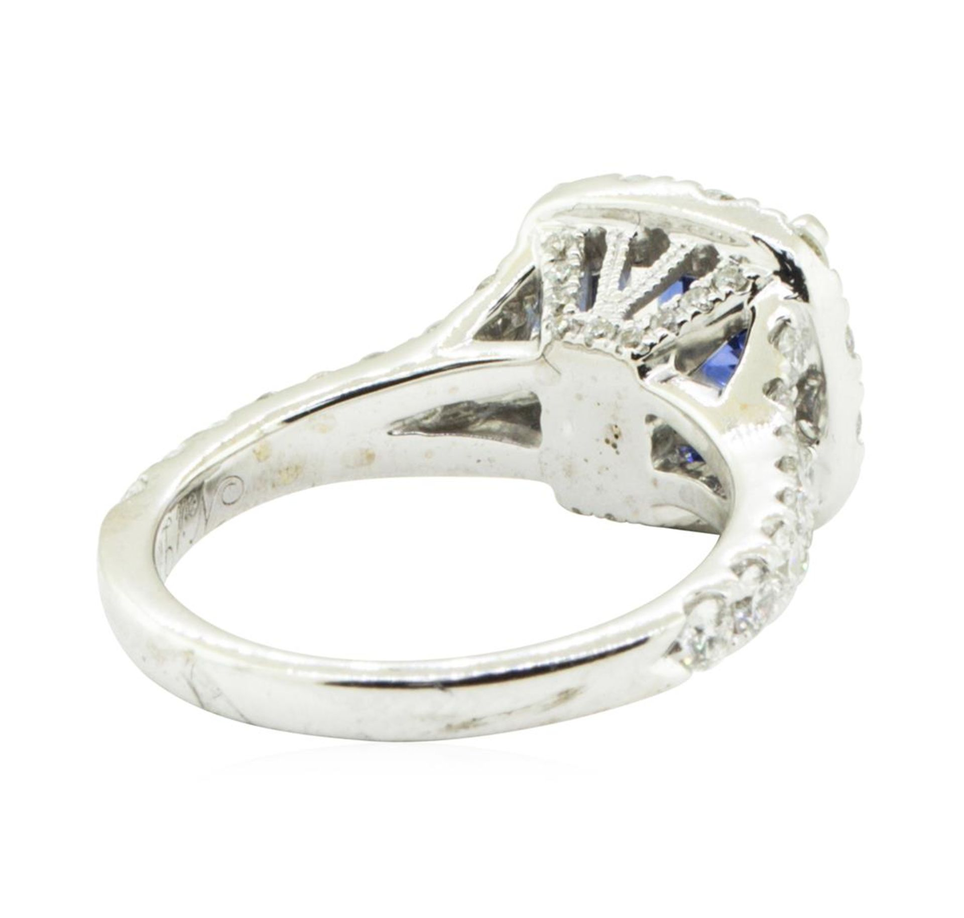 2.47 ctw Round Brilliant Blue Sapphire And Diamond Ring - 14KT White Gold - Image 3 of 5