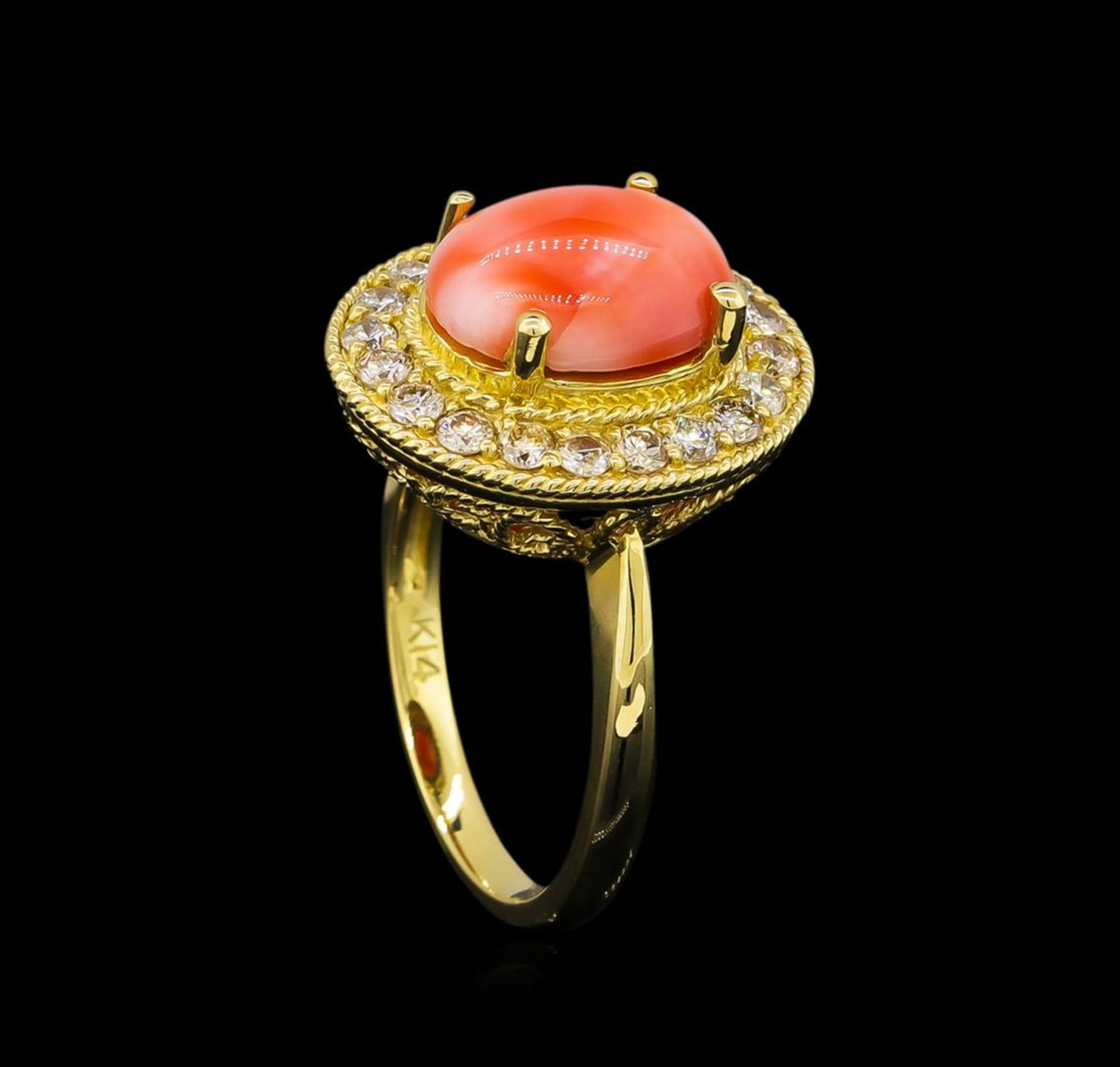 14KT Yellow Gold 3.16 ctw Coral and Diamond Ring - Image 4 of 5