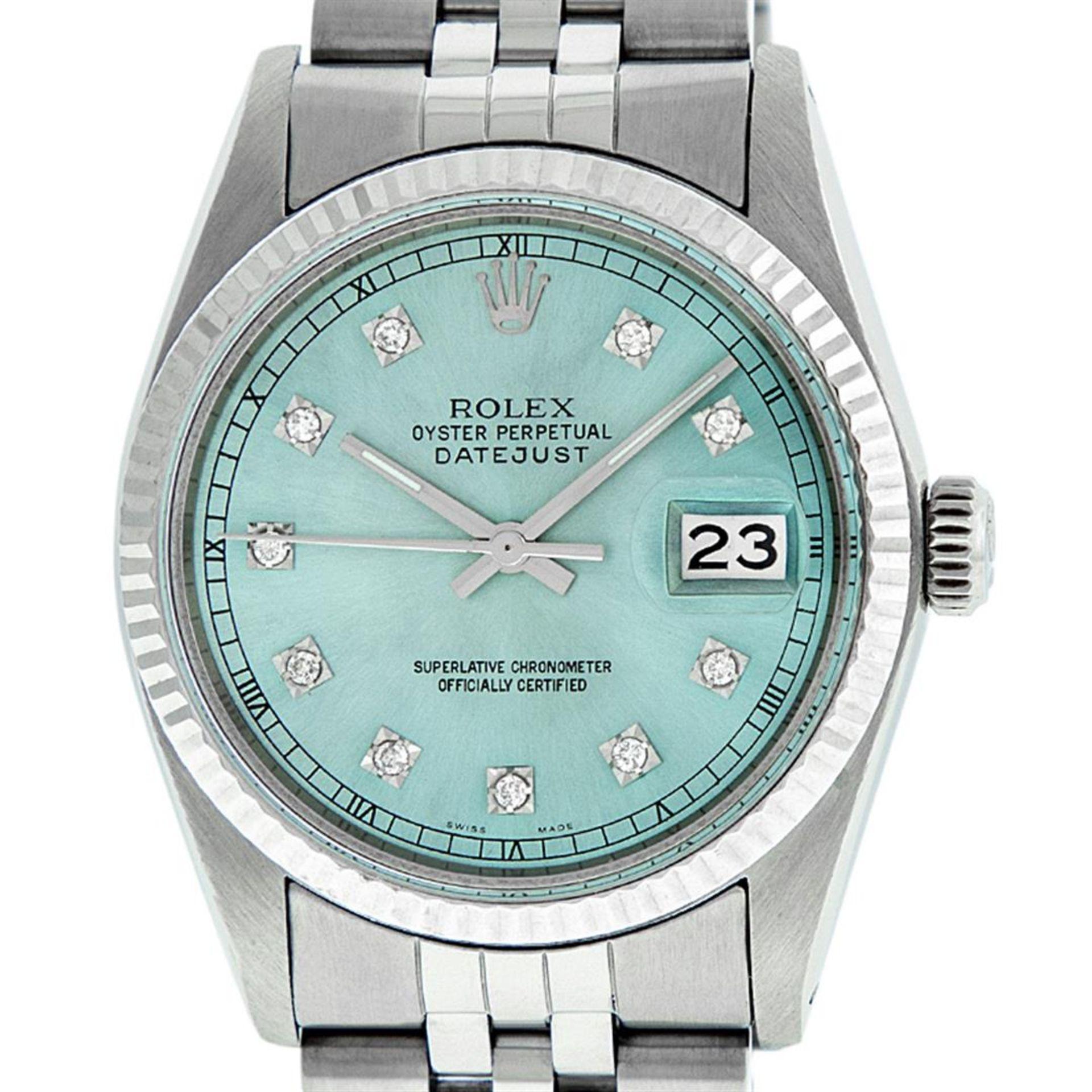 Rolex Mens Stainless Steel Ice Blue Diamond Datejust Wristwatch - Image 2 of 9