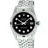 Rolex Mens Stainless Steel Black Diamond & Emerald Oyster Perpetual Datejust Wri