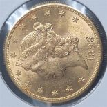 1898-S 20$ Liberty Head Double Eagle Gold Coin BU+