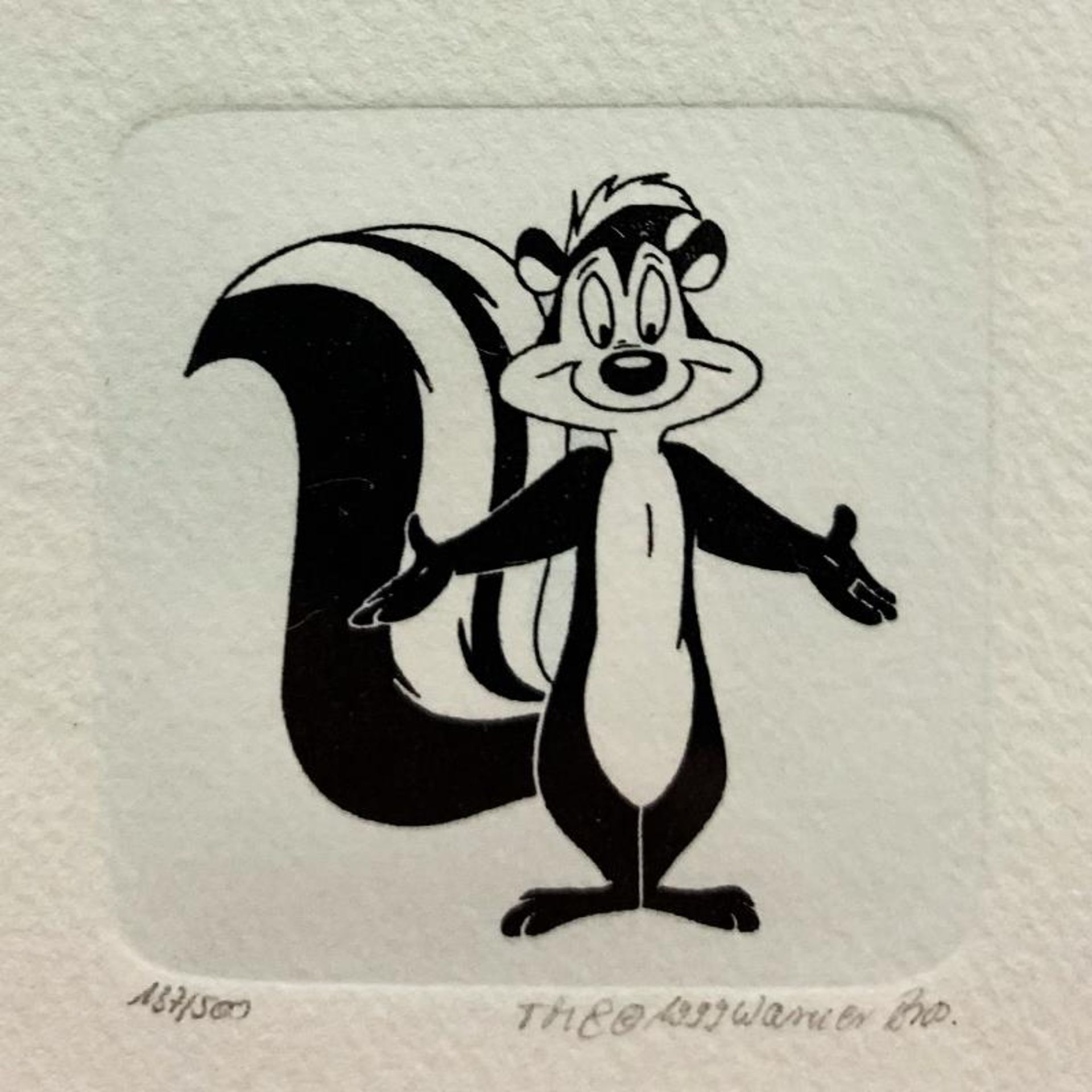 """Pepe le Pew"" Framed Limited Edition Etching with Hand-Tinted Color and Numbered - Image 2 of 2"