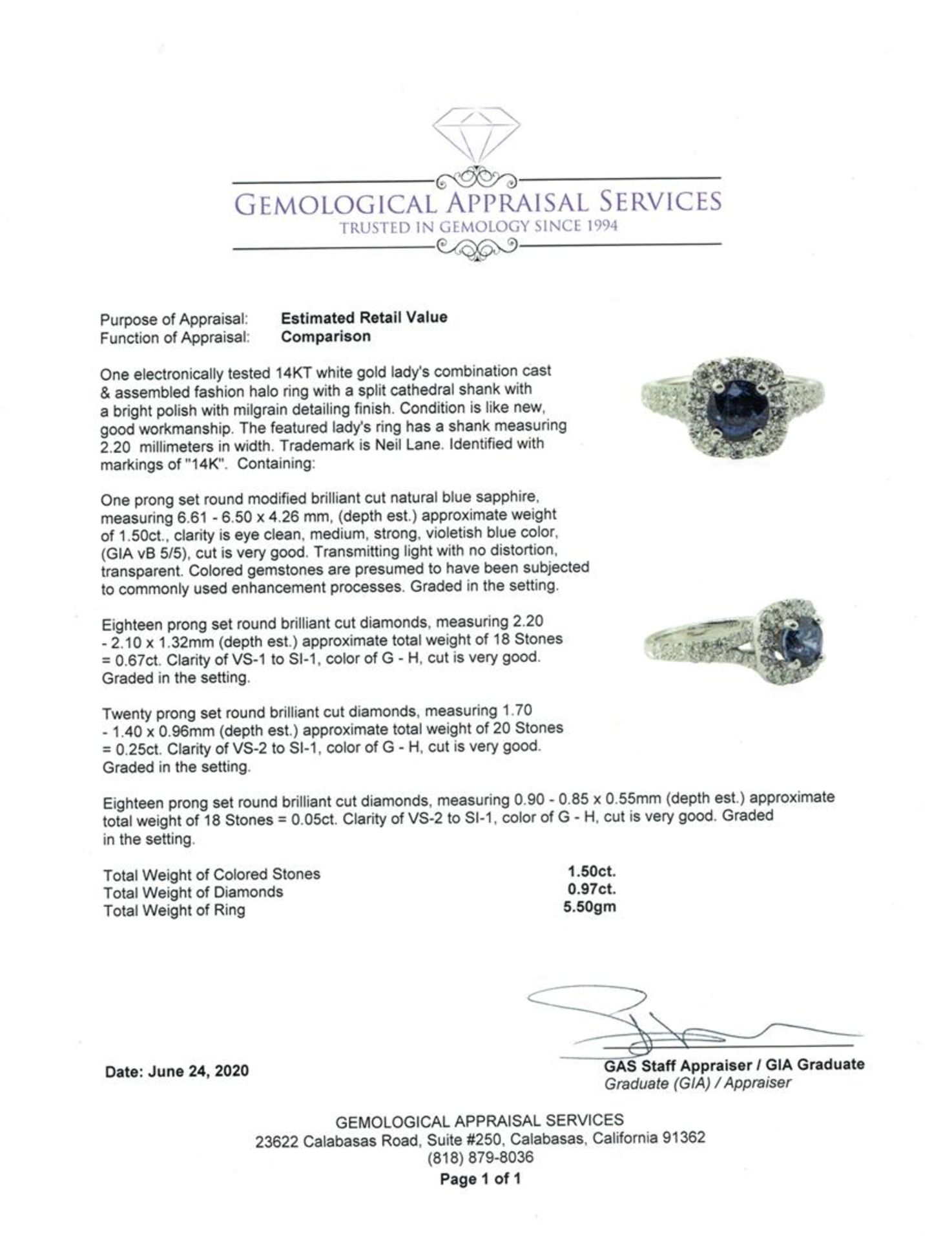 2.47 ctw Round Brilliant Blue Sapphire And Diamond Ring - 14KT White Gold - Image 5 of 5