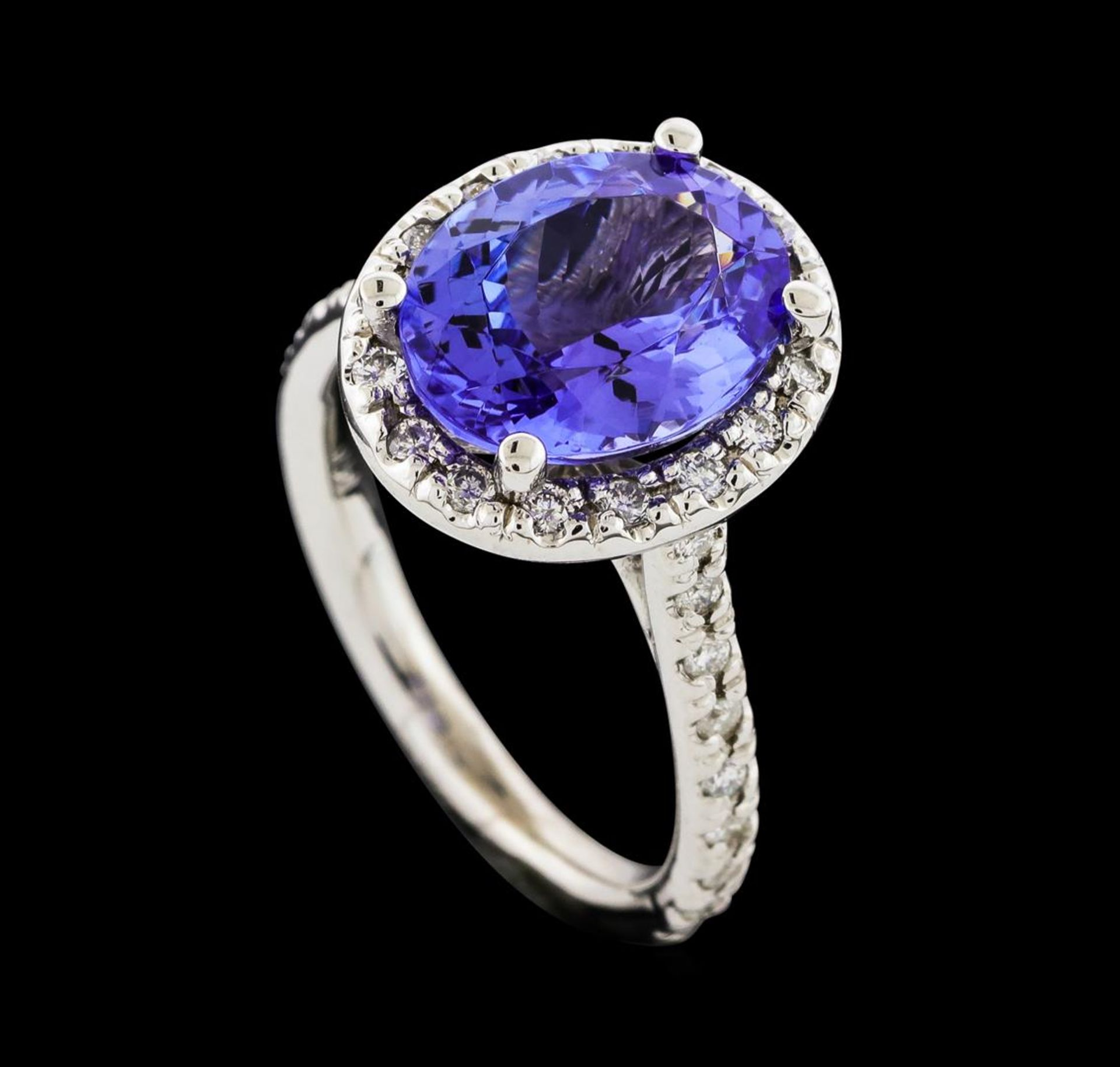 3.25 ctw Tanzanite and Diamond Ring - 14KT White Gold - Image 4 of 4