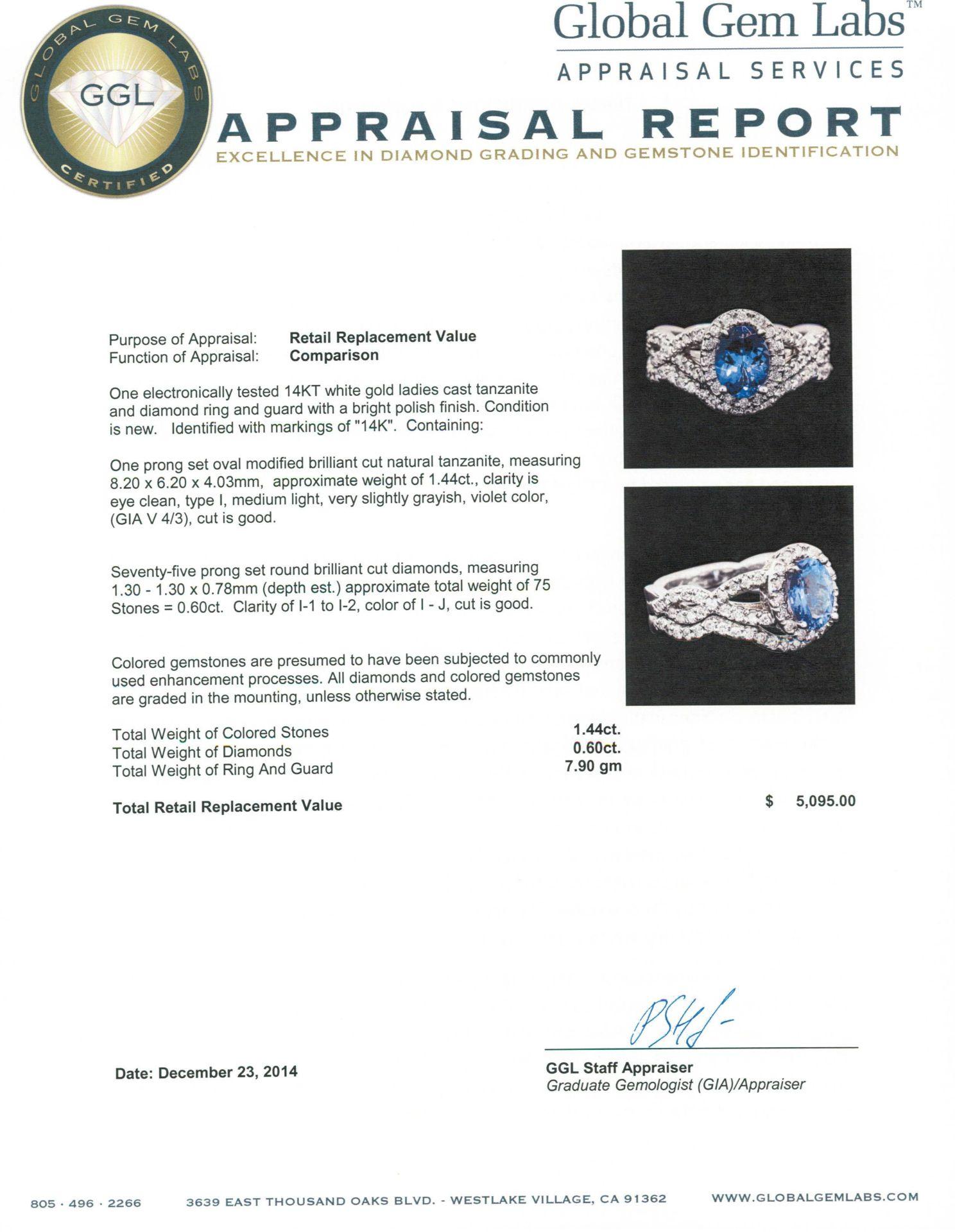 14KT White Gold 1.44 ctw Tanzanite and Diamond Ring - Image 4 of 4